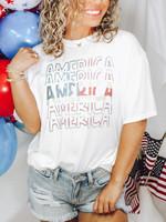 America Stack White Graphic Tee