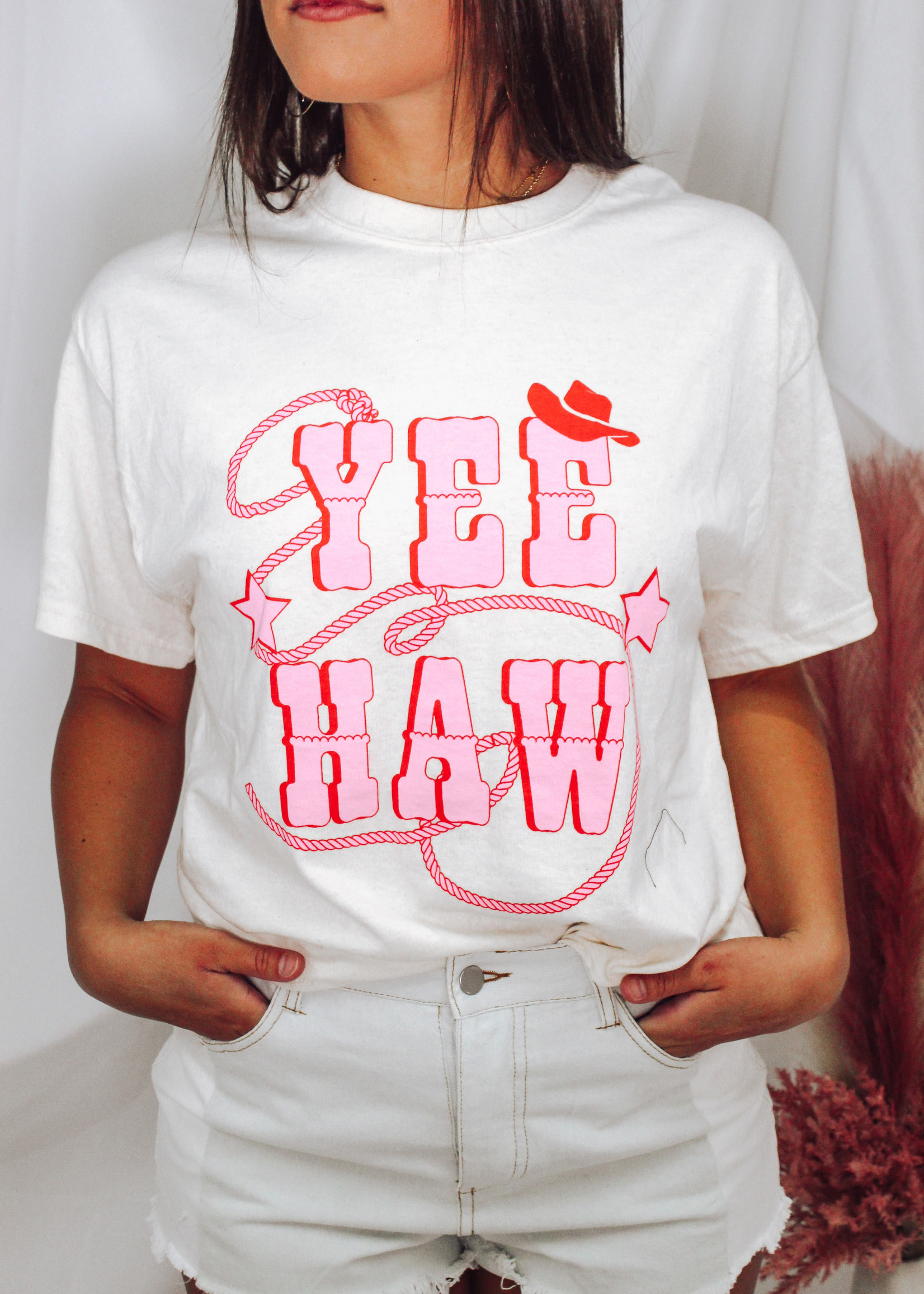 Oversized Cotton Yee Haw Graphic Top