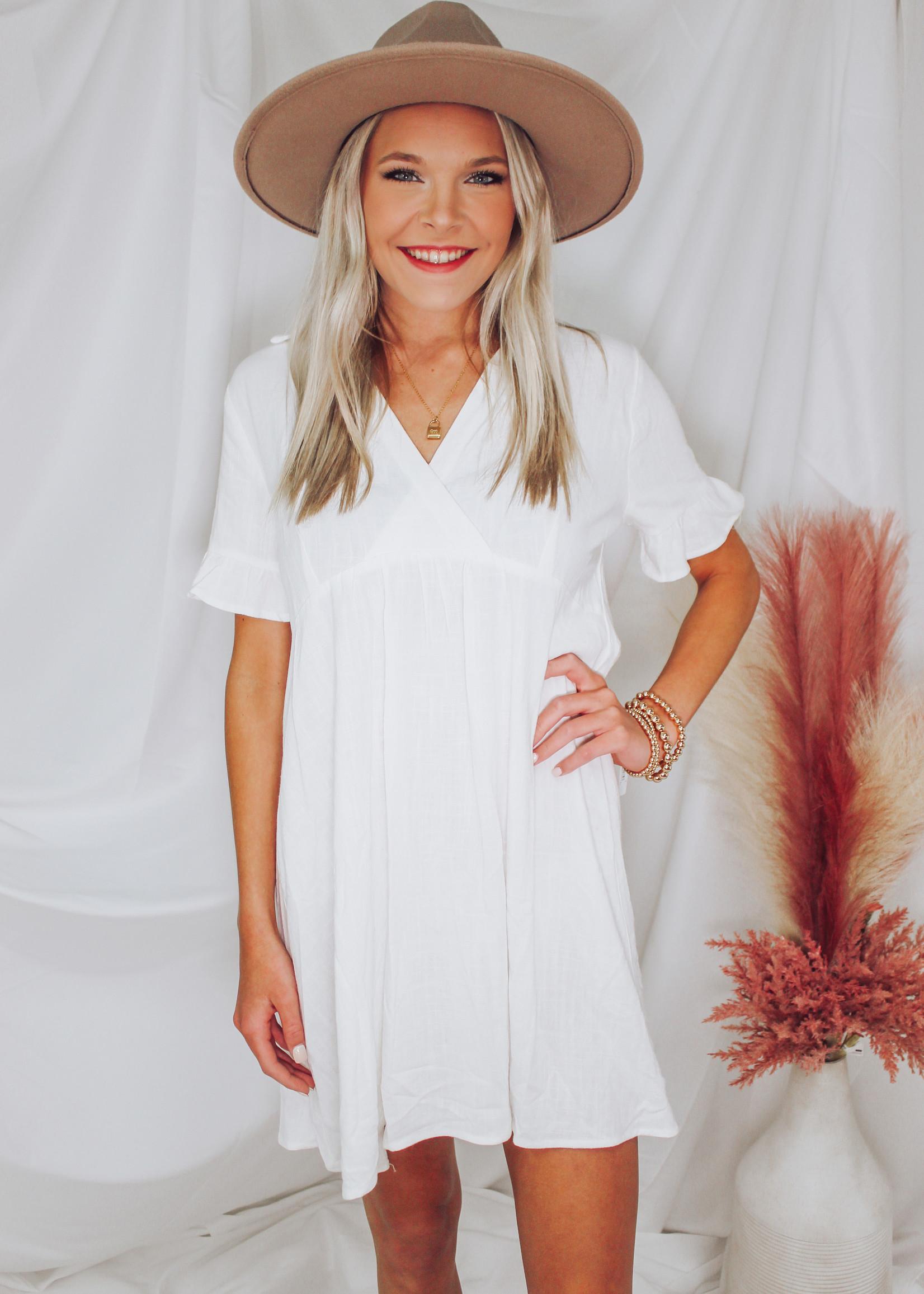 Linen Blend Babydoll Dress
