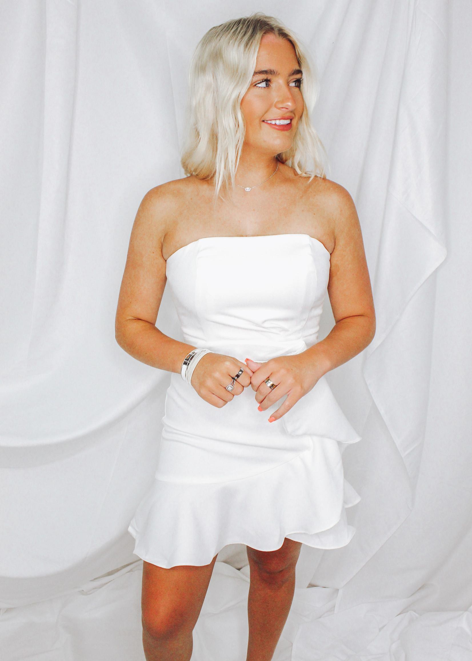 Open Shoulder Ruffle Dress