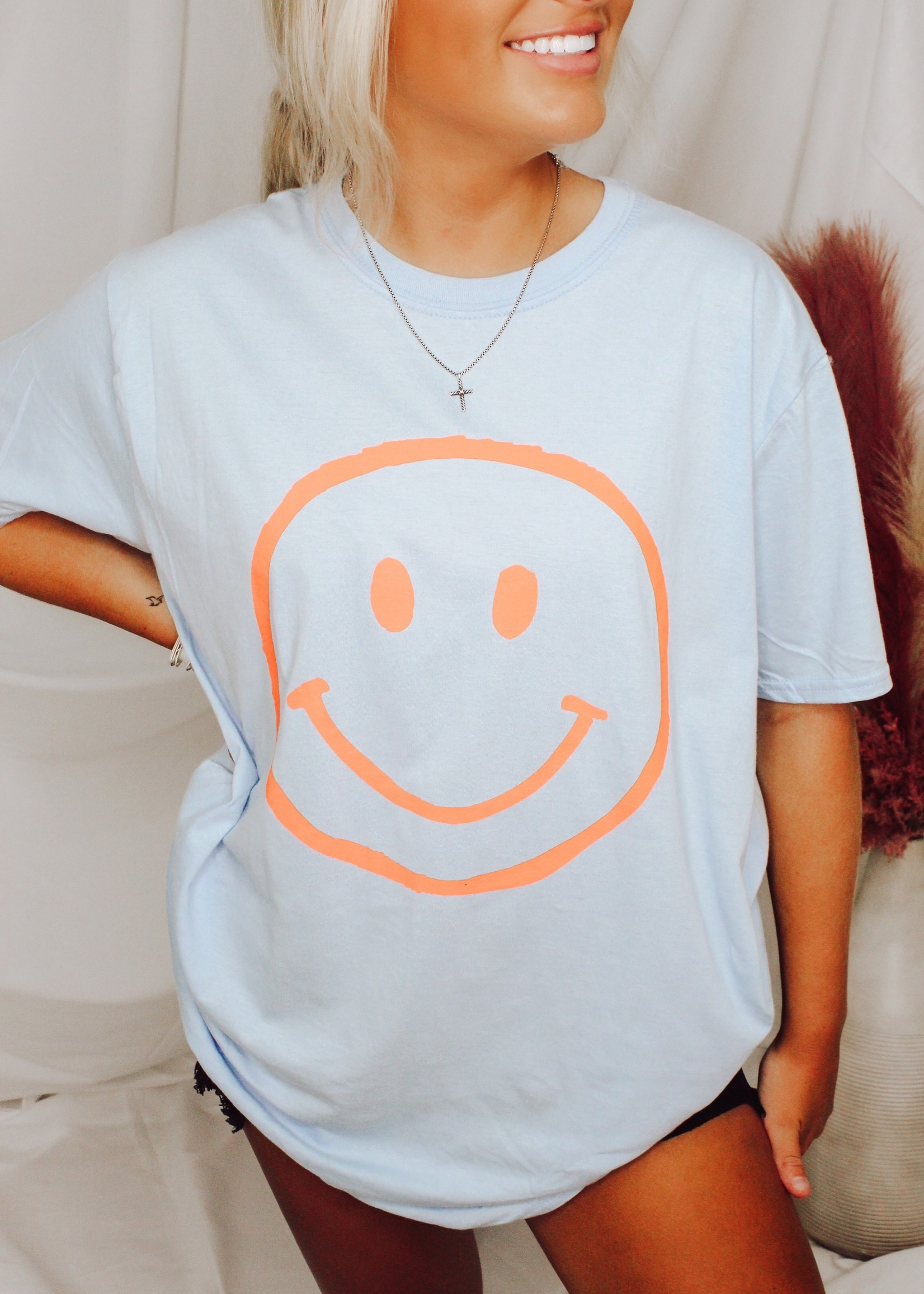 Oversized Smiley Face Graphic Tee