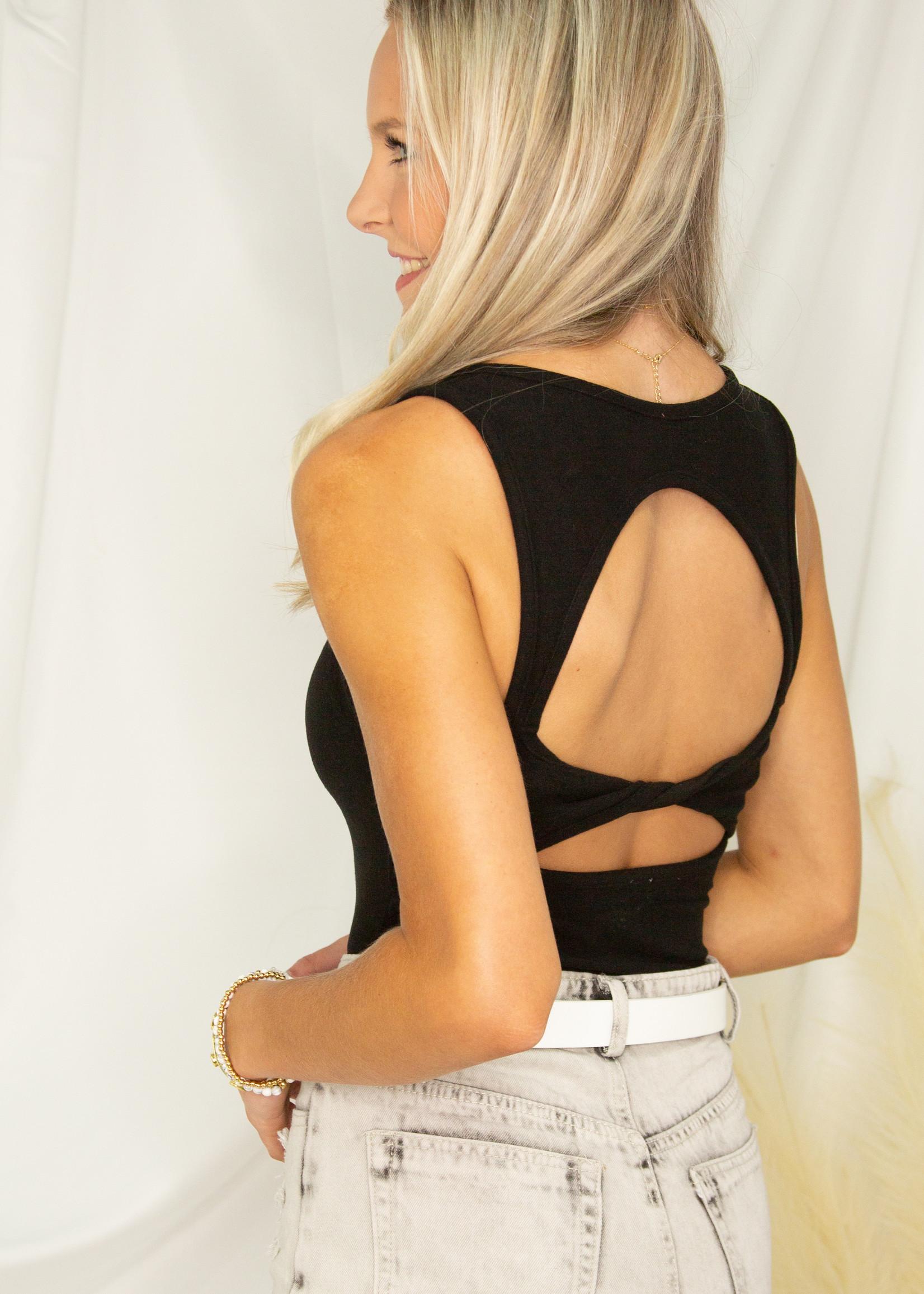 Scoop Neck Twist Back Bodysuit