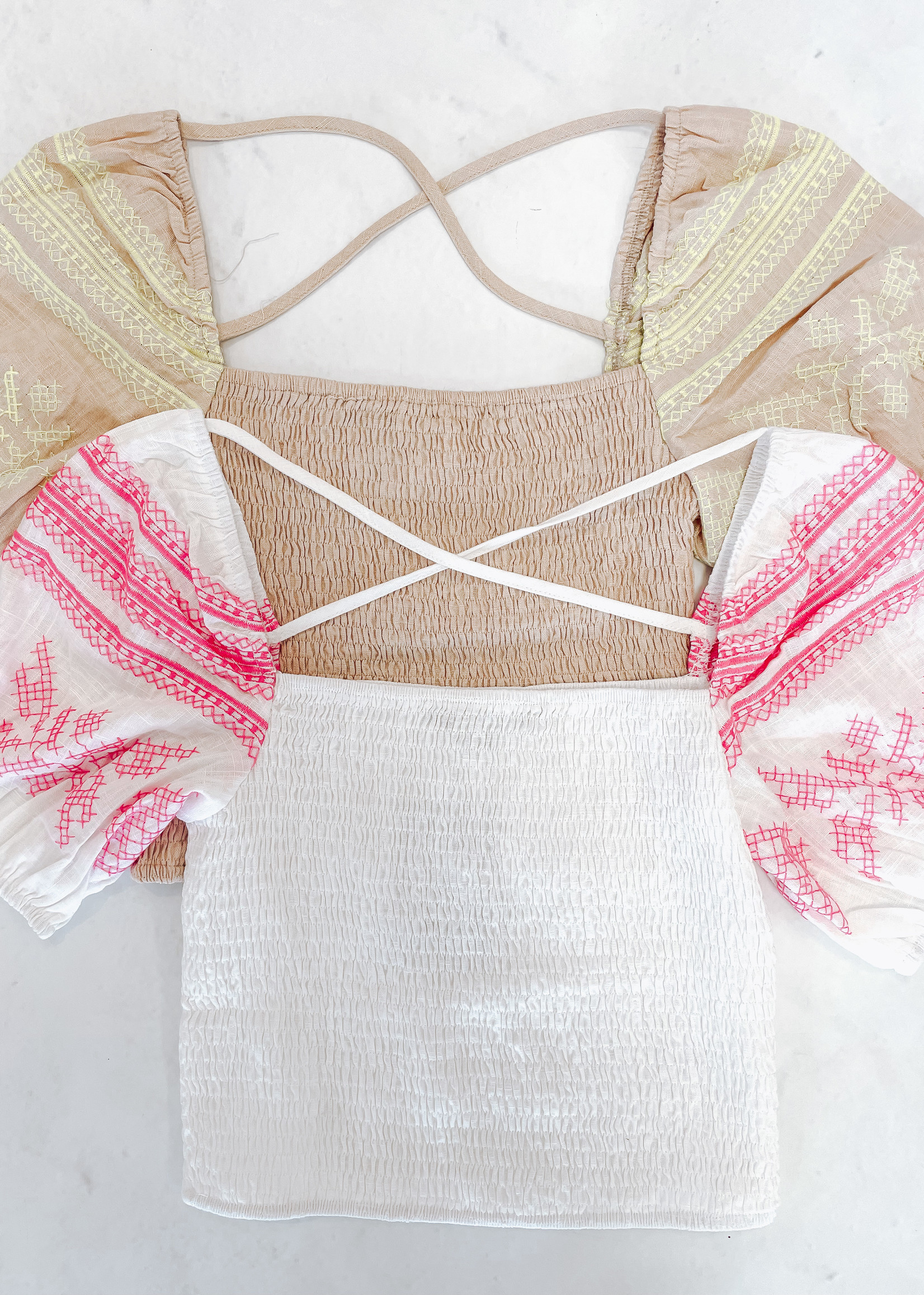Embroidered Detail Sleeve Smocked Top