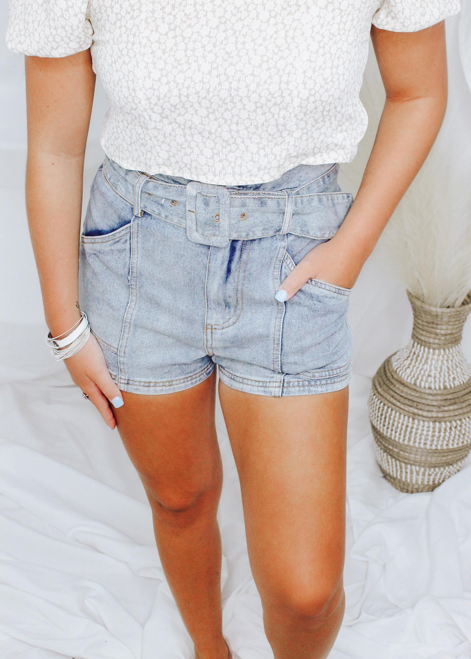 Paperbag Self Belt Denim Shorts