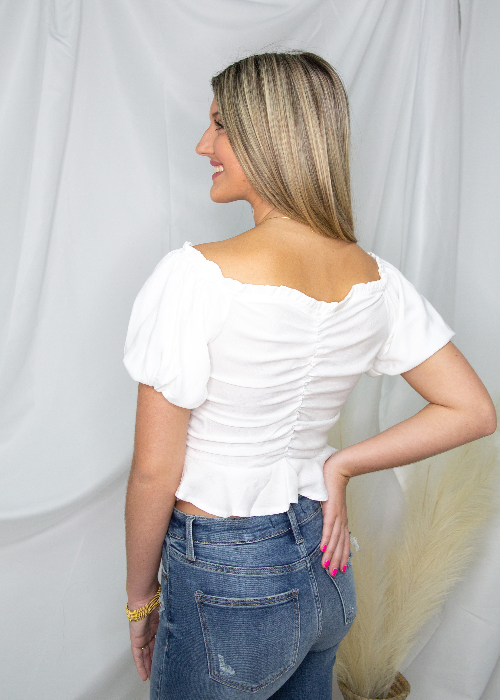 Ruched Balloon Sleeve Top
