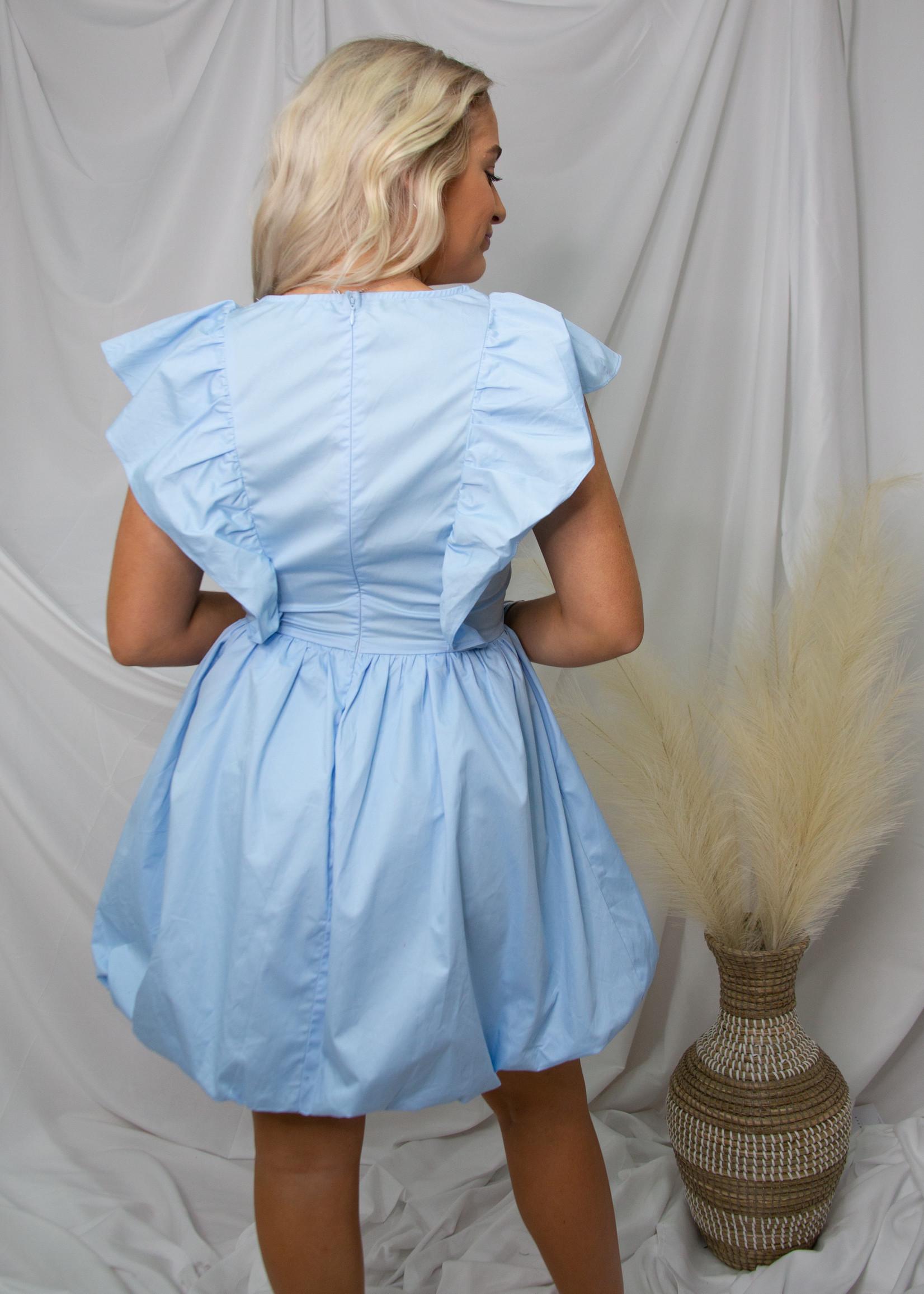Ruffle Sleeve Puff Dress
