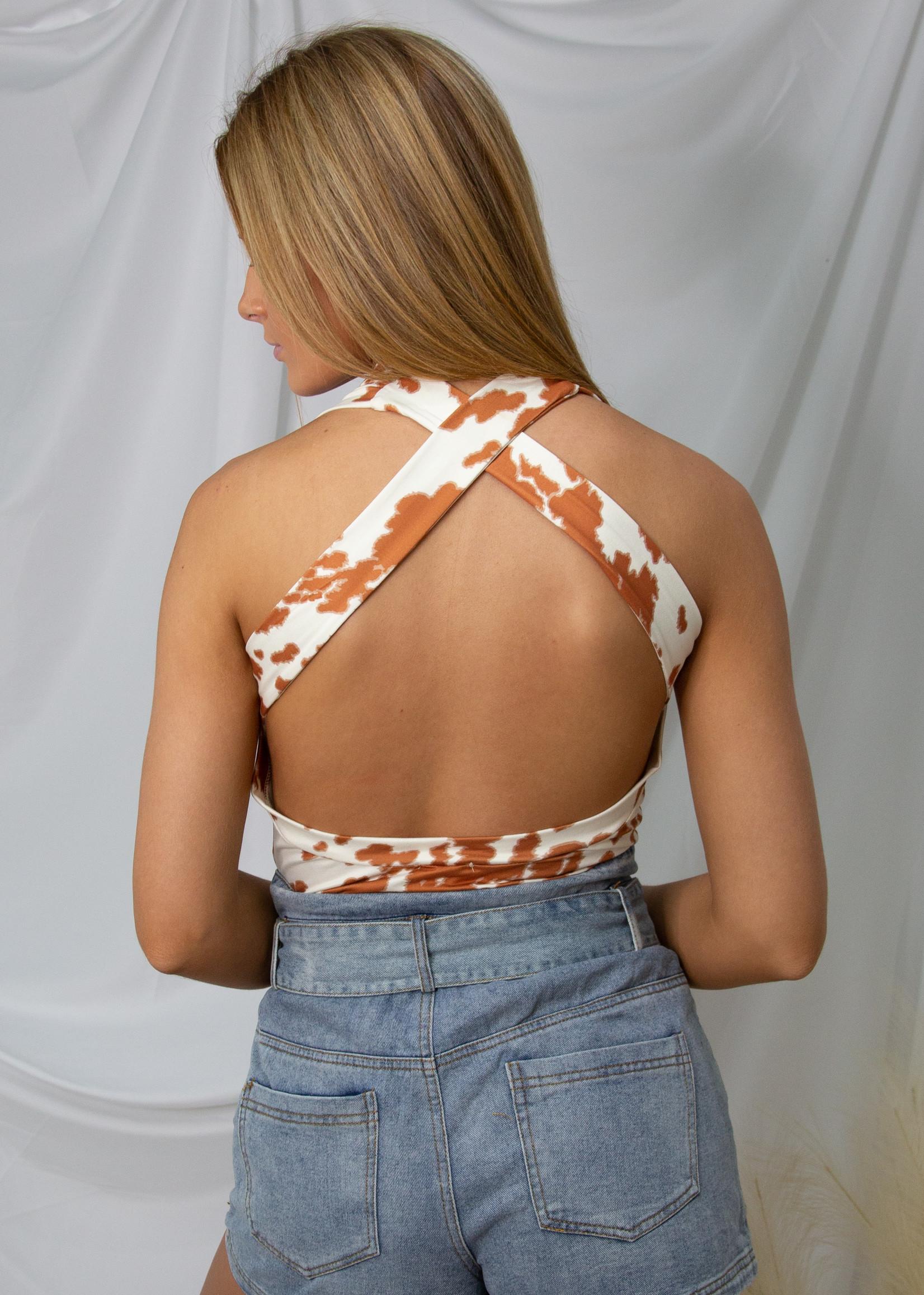 Open Back Knit Animal Print Bodysuit