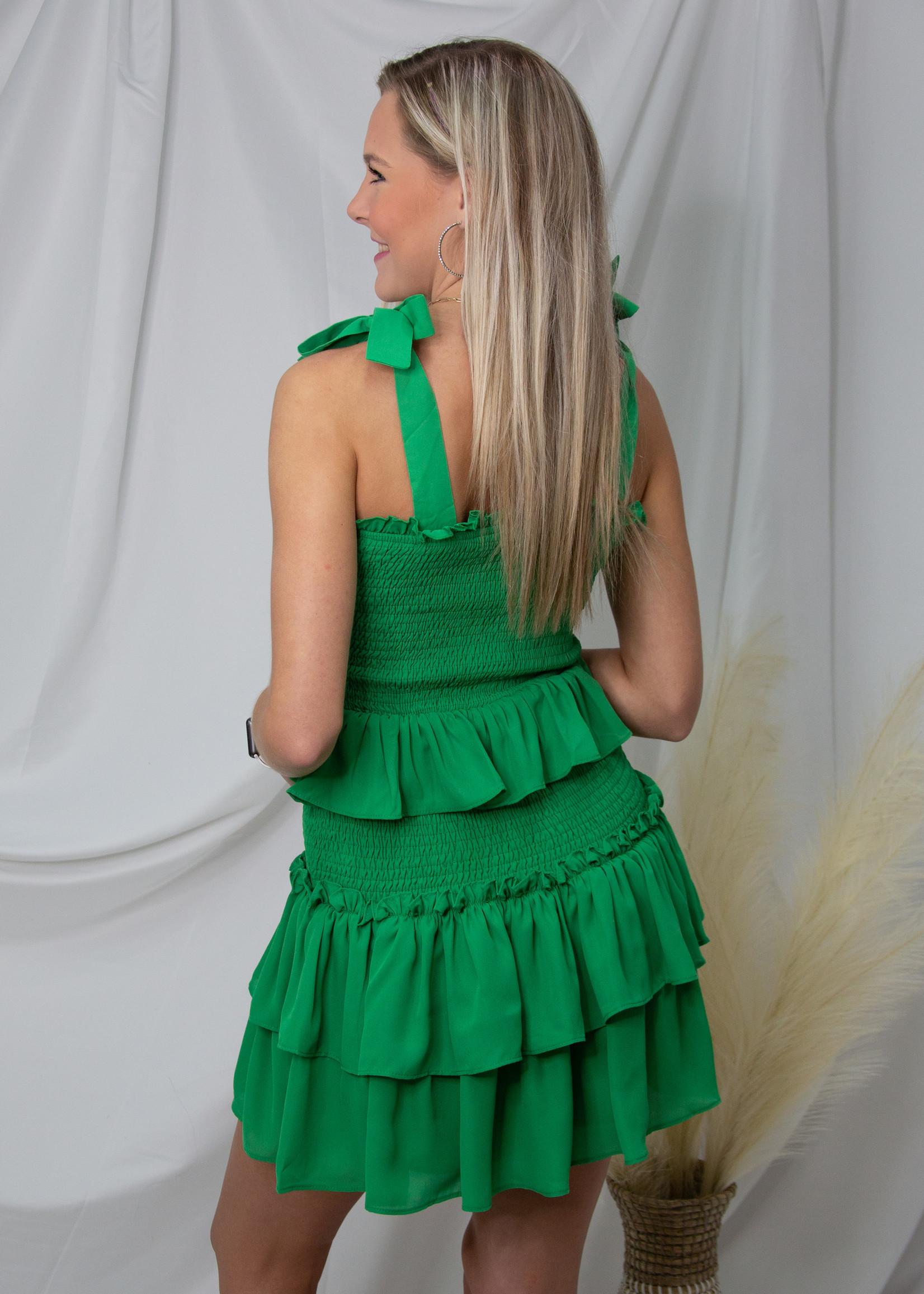 Ruffle Detail Tie Sleeve Dress
