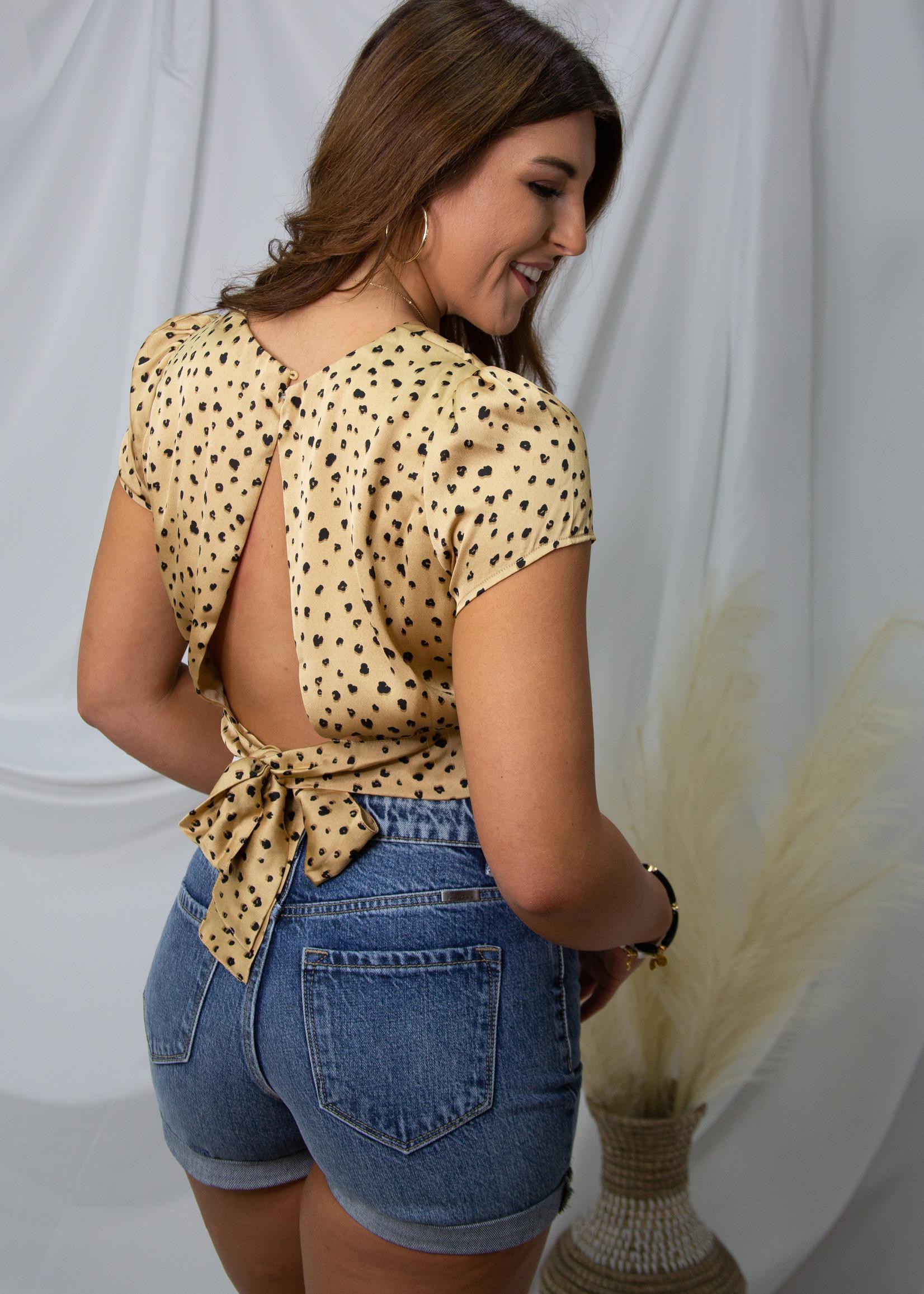 Leopard Detail Top w/ Tie Back