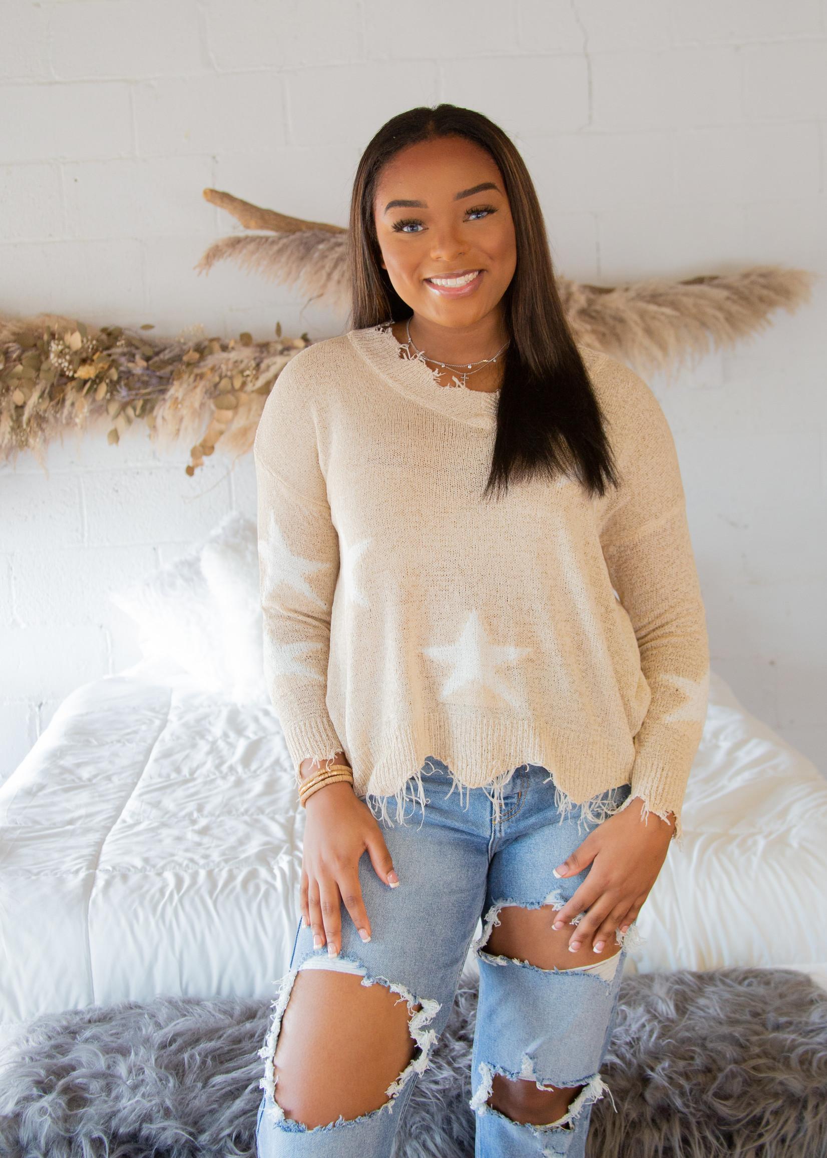 V - Neck Long Sleeve Frayed Star Sweater