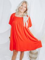 Loose Fit Mini Dress w/ Square Neck