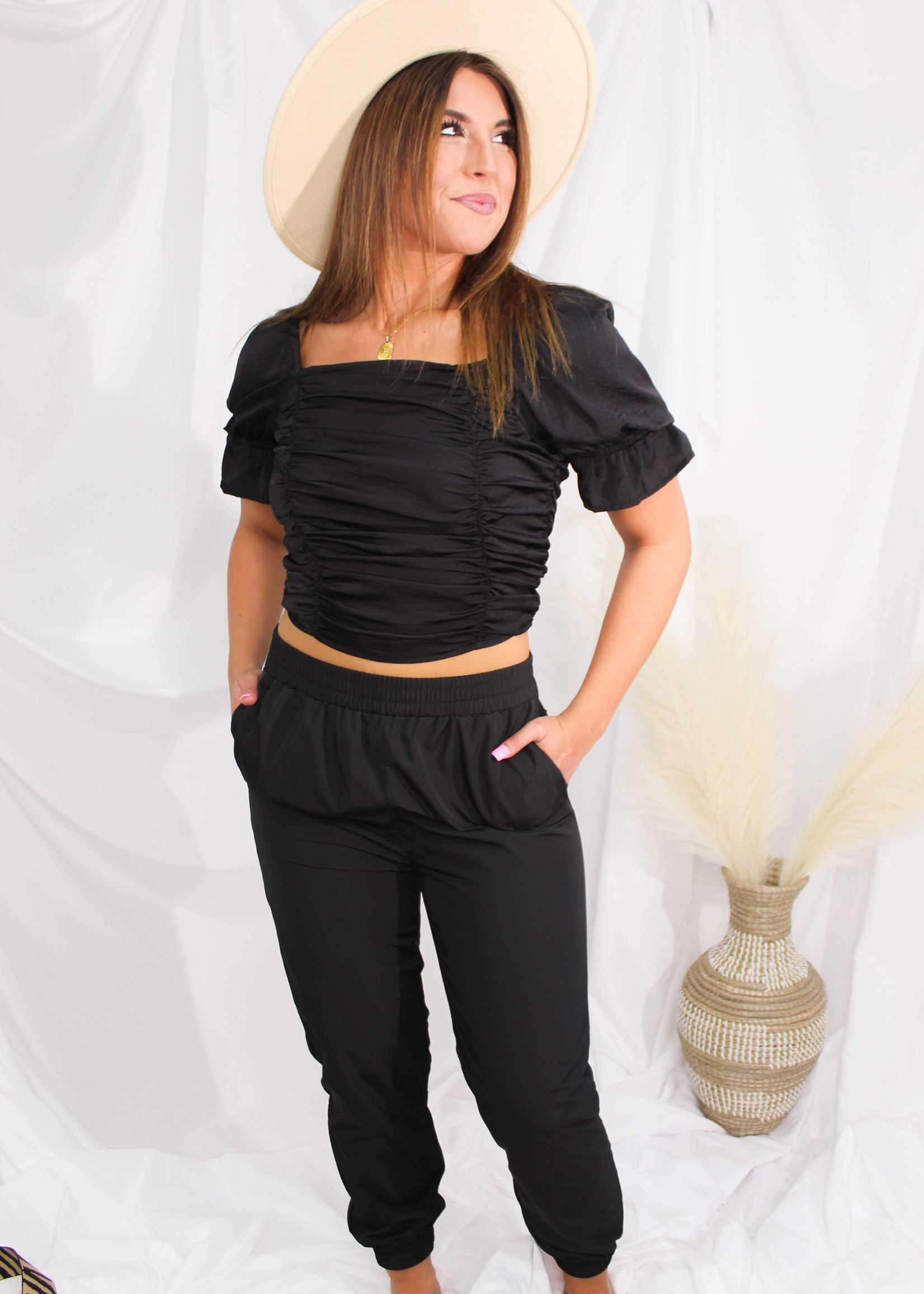 Ruched Crop Top w/ Baby Bell Puff Sleeves