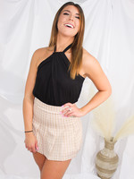 Checkered Pleaded Skirt
