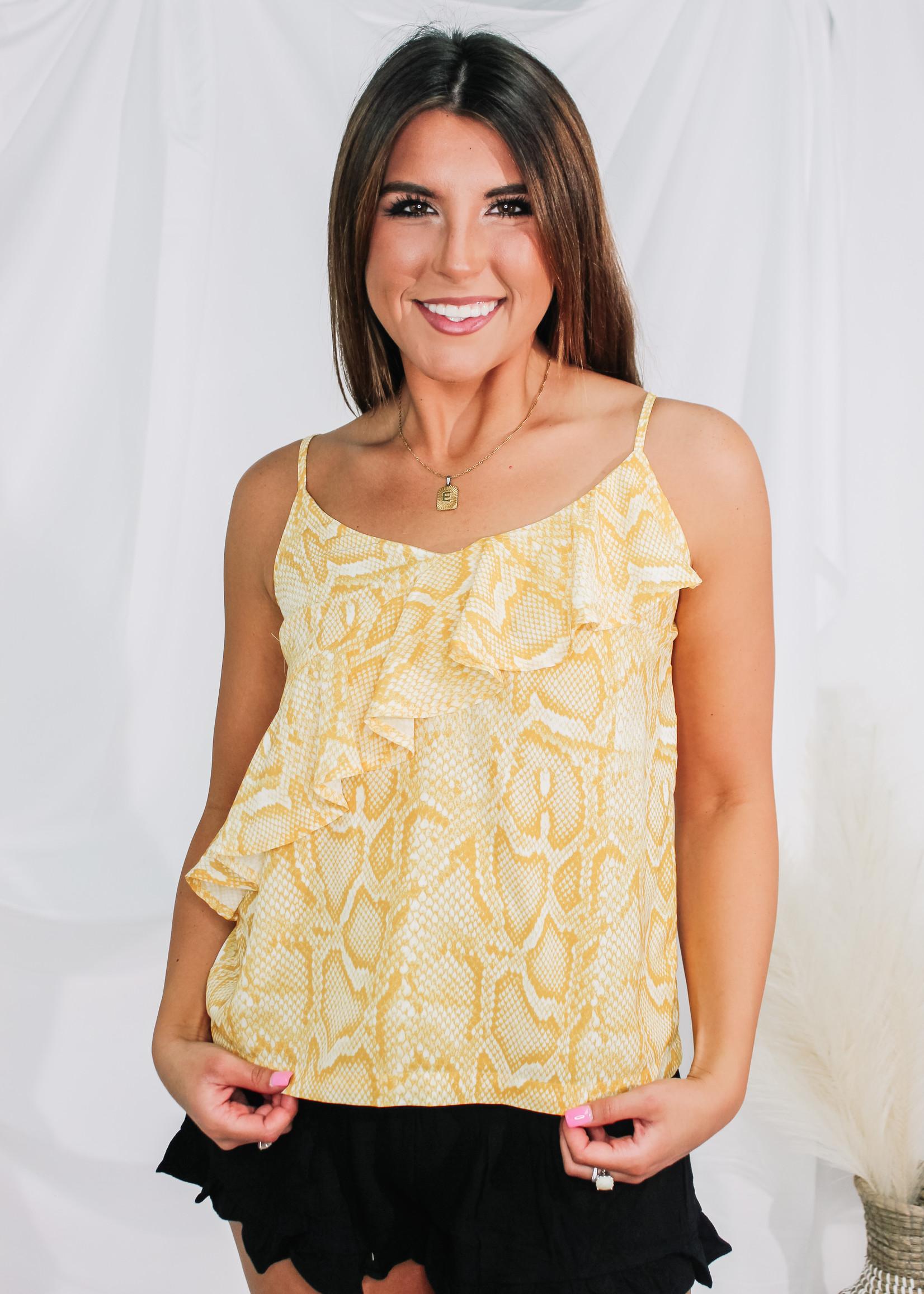 Snake Print Ruffle Cami Top in Yellow
