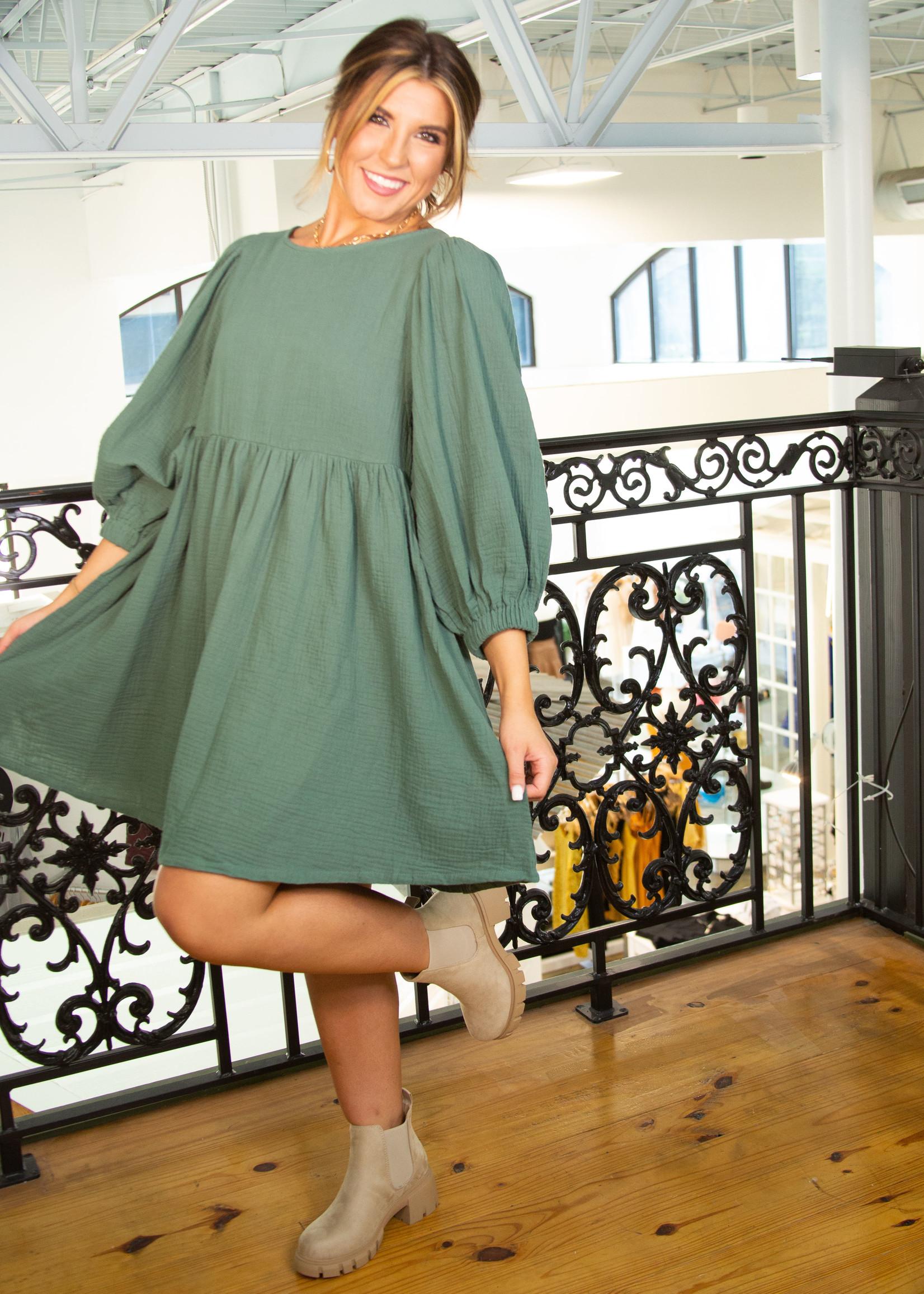 Solid Puff Sleeve Babydoll Dress