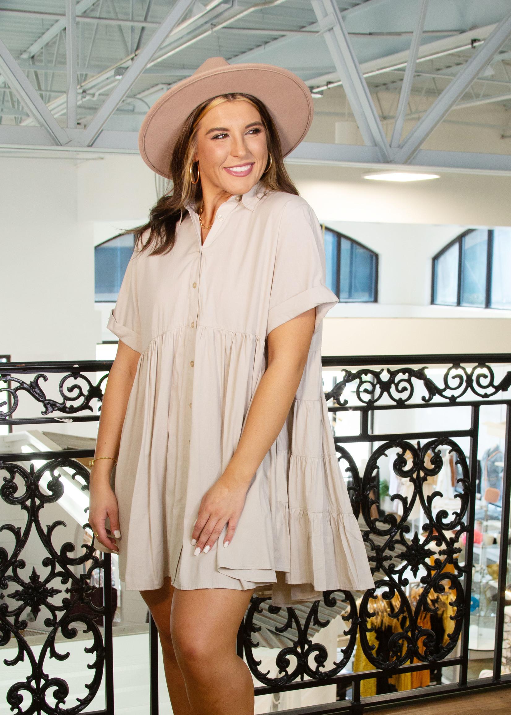 Short Sleeve Cotton Button Down Dress