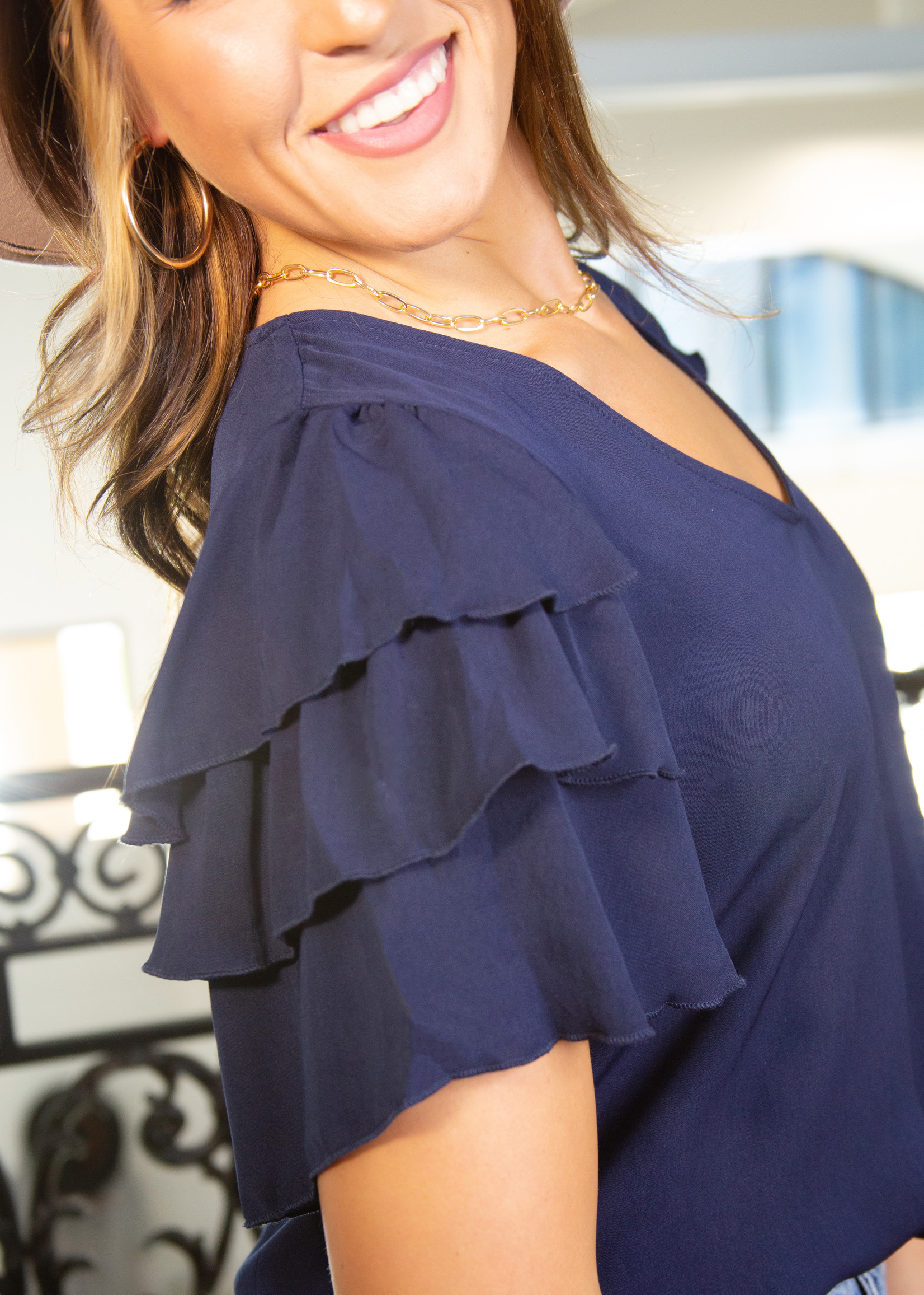 Solid Top w/ Tiered Flounce Sleeves