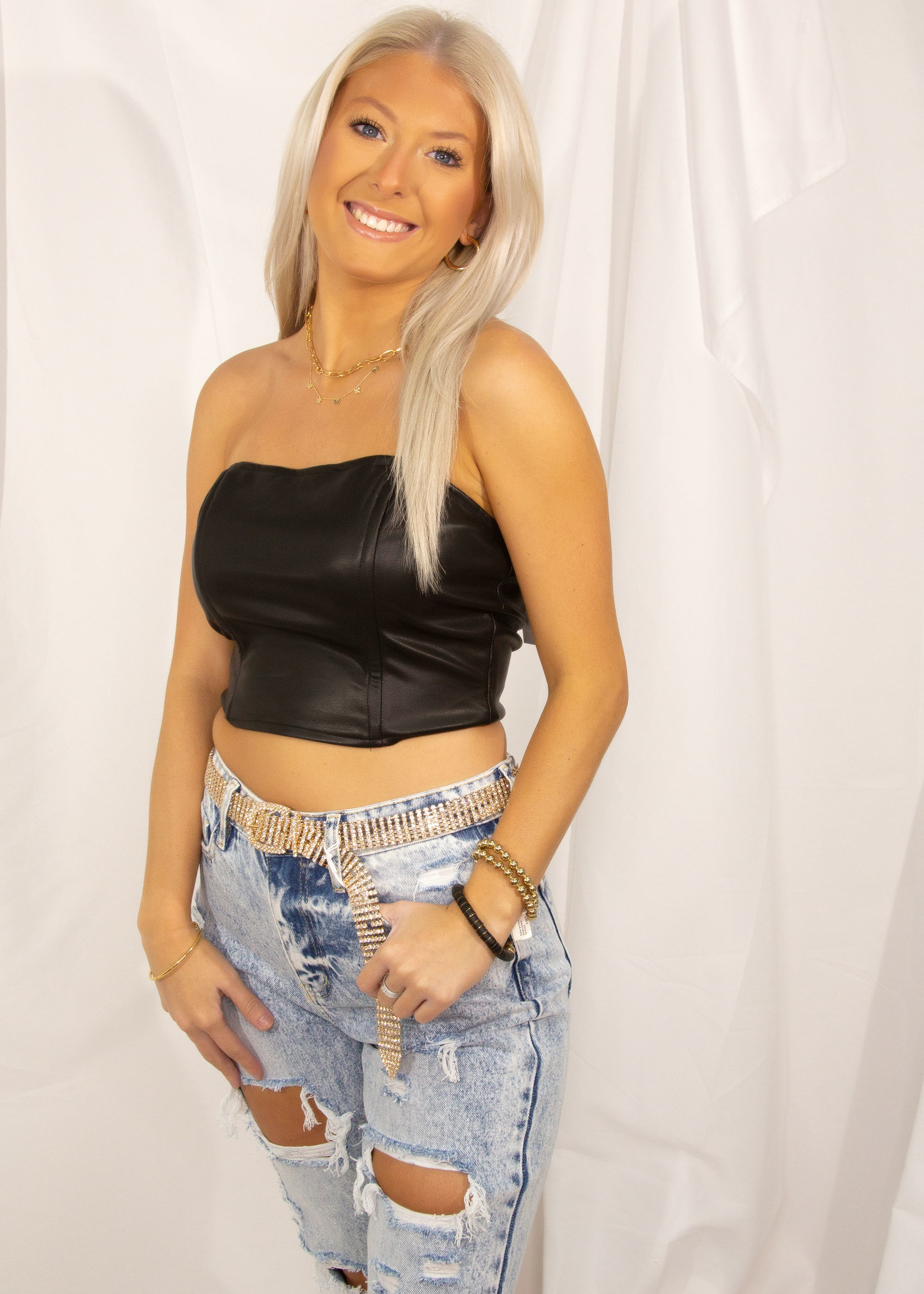 Lace Up Detail Tube Top