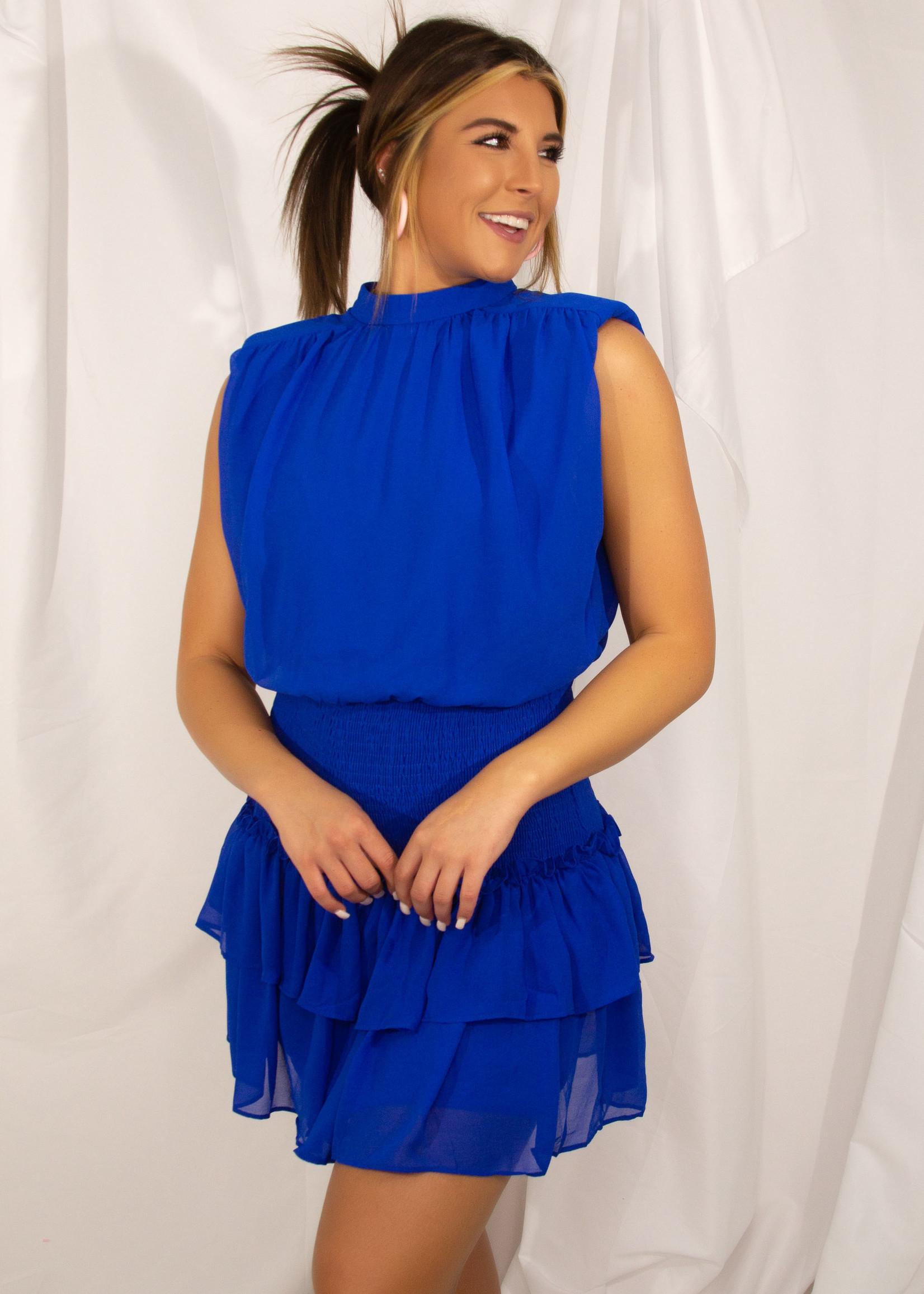 Sleeveless Tiered Dress w/ Shoulder Pads