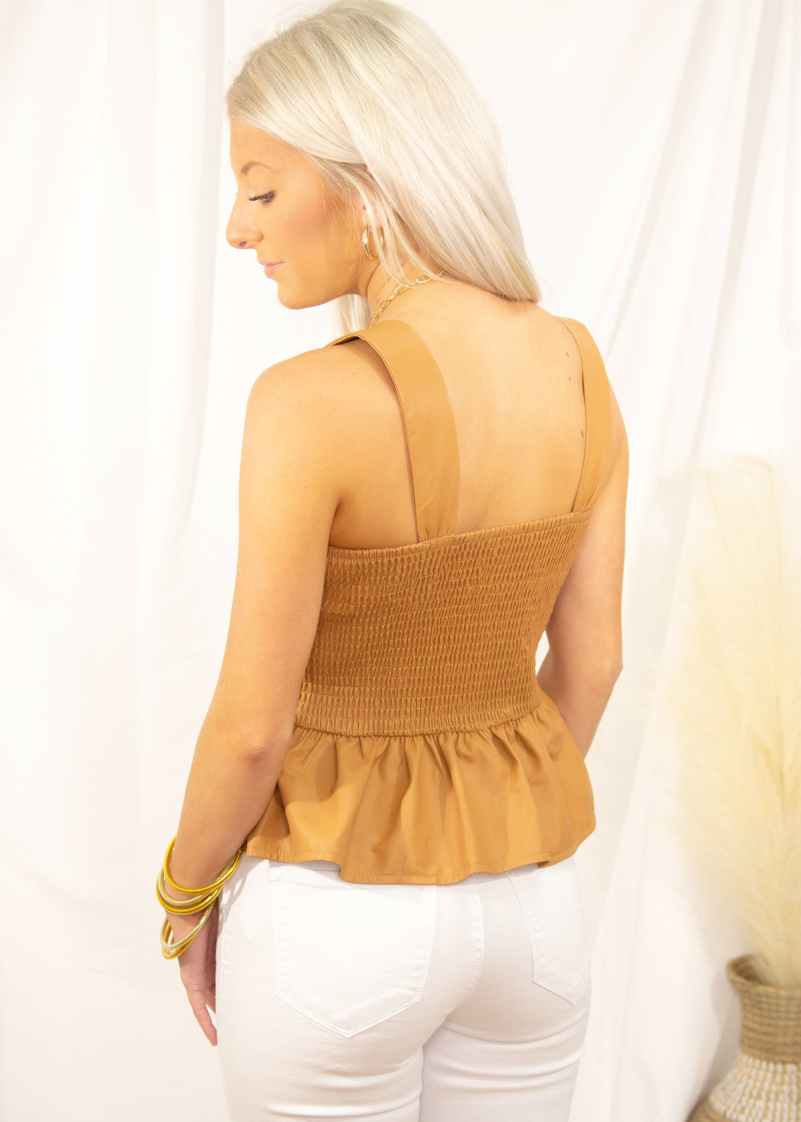 Leather Smocked Front Top