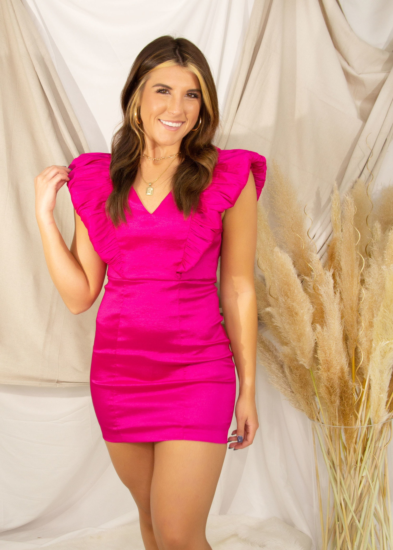 Stylish Ruffle Flutter Sleeve Dress