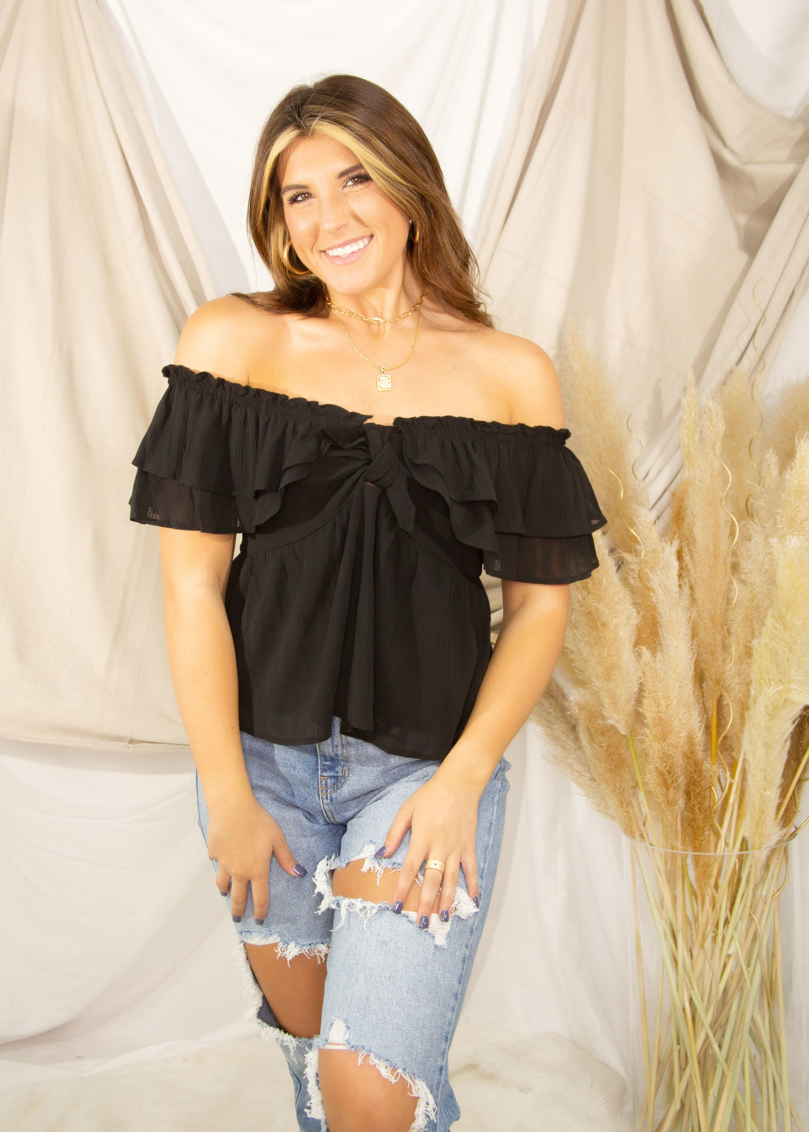 Front Knot Detail Short Sleeve Ruffle Top