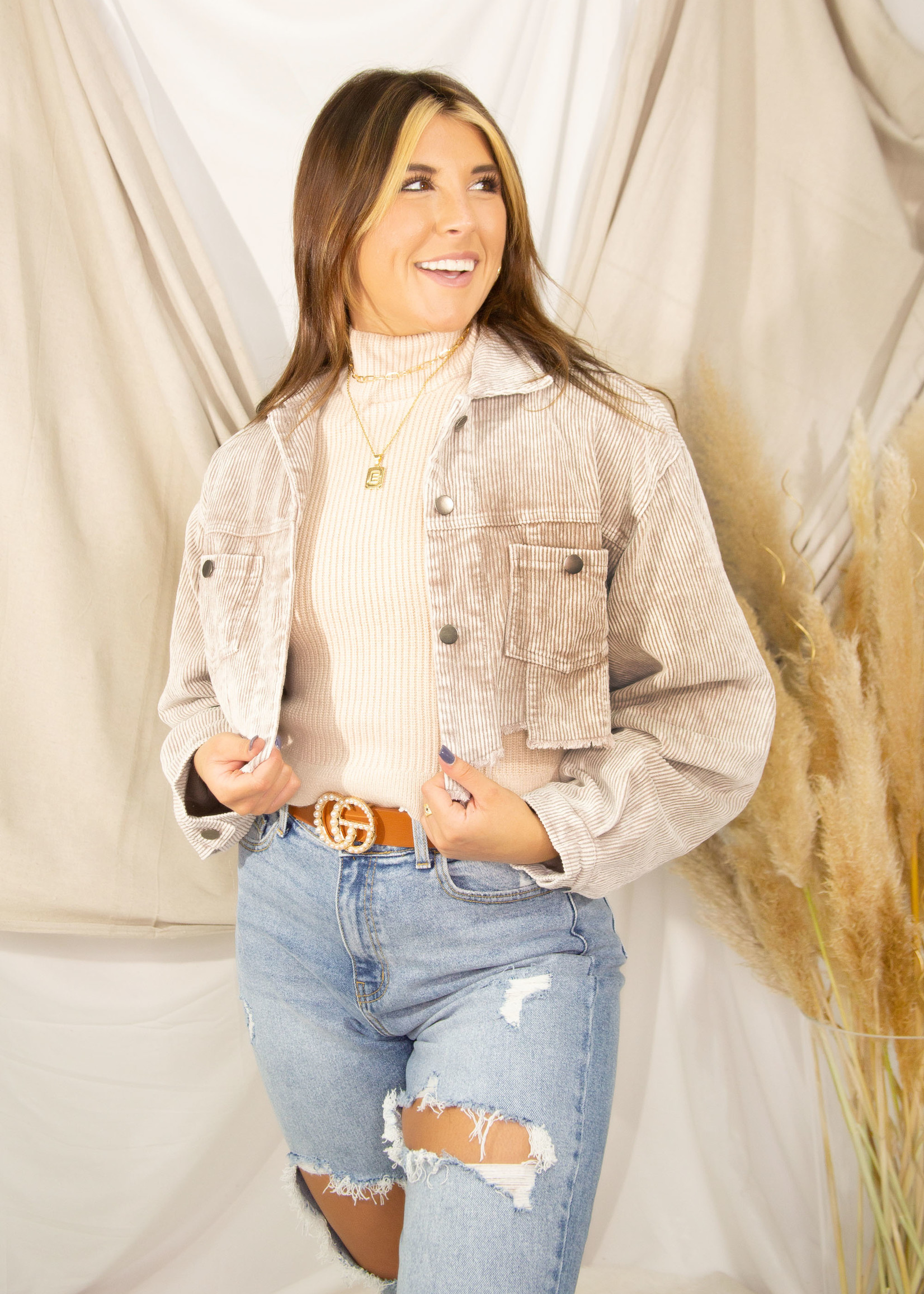 Corduroy Woven Cropped Jacket w/ Distressed Bottom
