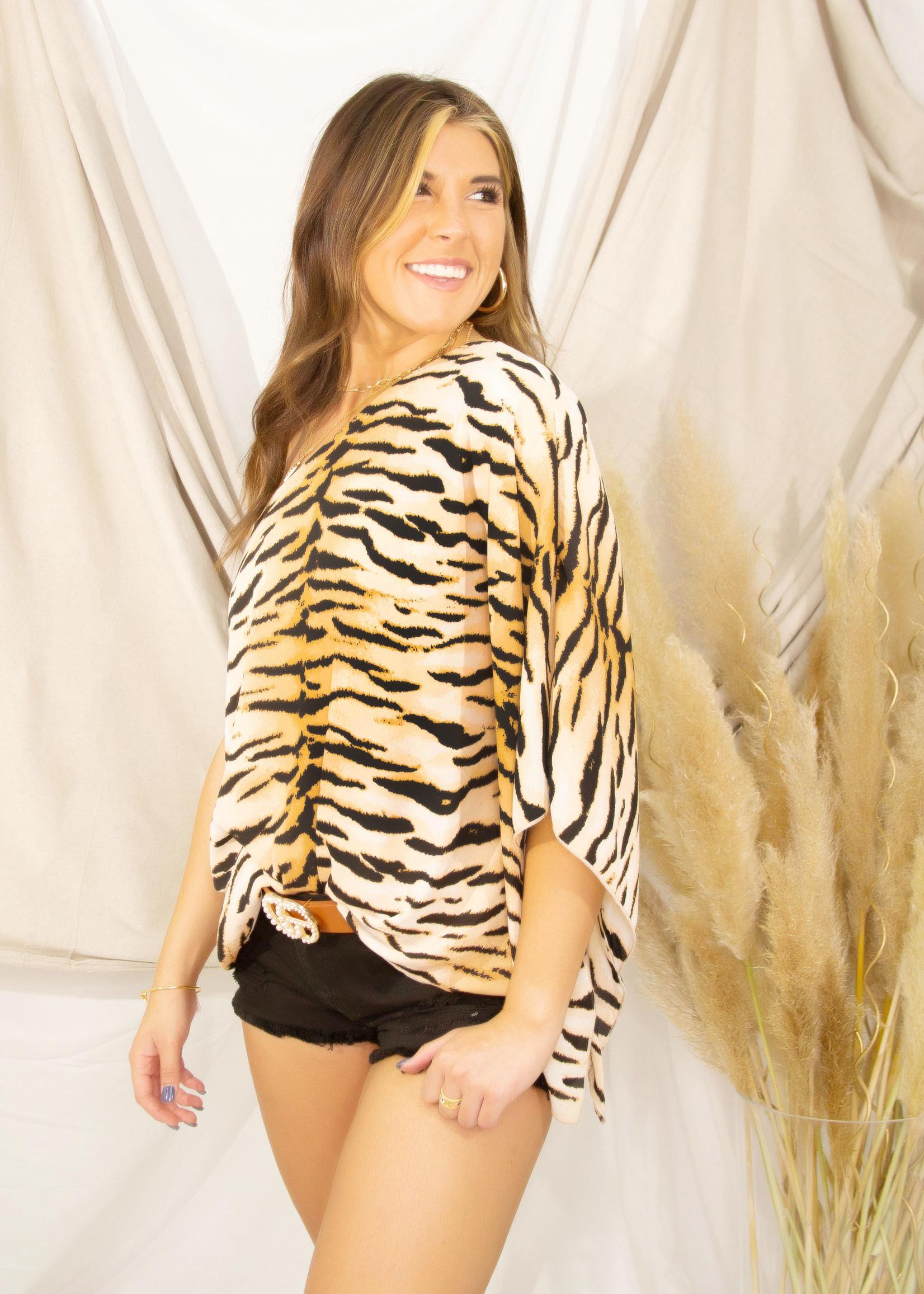 Tiger Print One Shoulder Top w/ Lining