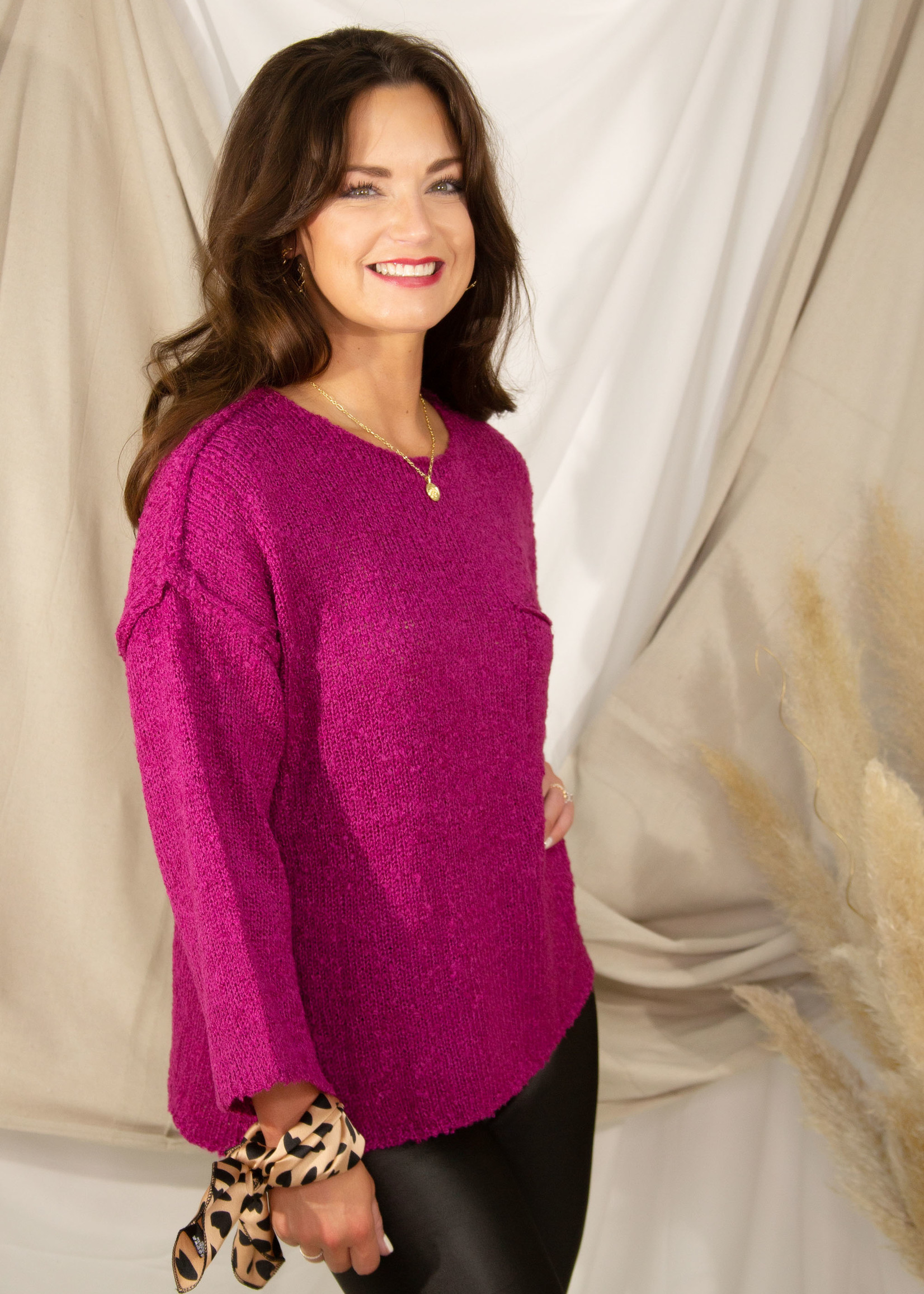 String Knit Wide Sleeve Sweater w/ Pocket