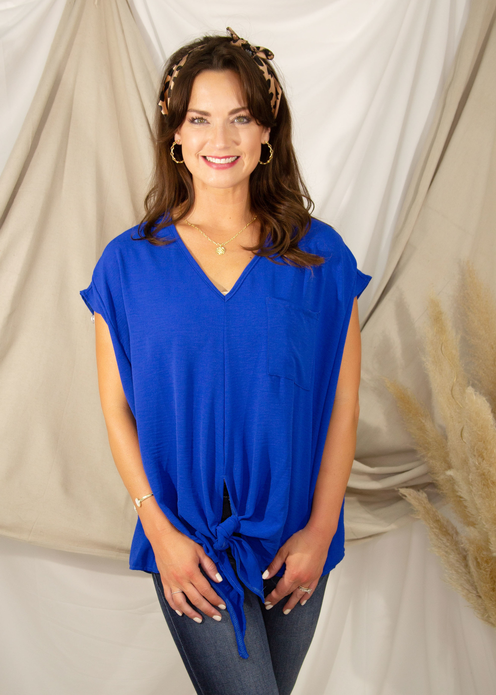 V - Neck Woven Front Tie Detail Top