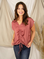 Drop Shoulder Woven Satin Rouched Front Top
