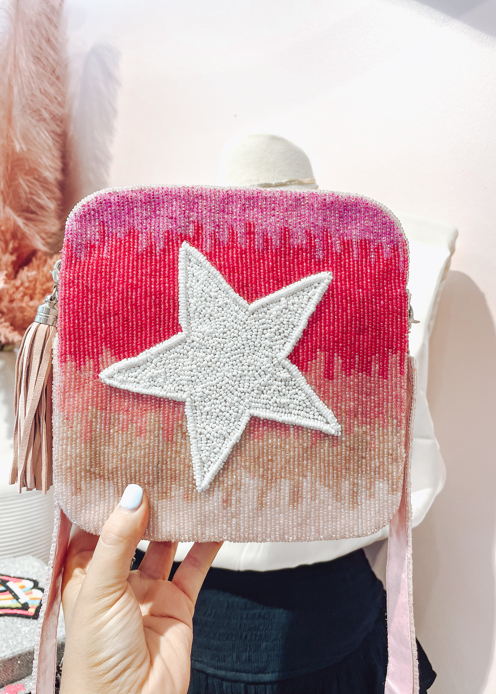 Pink Ombre and White Purse