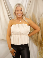 Ruffle Faux Leather Top