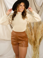 Shoulder Ruffle Knit Sweater