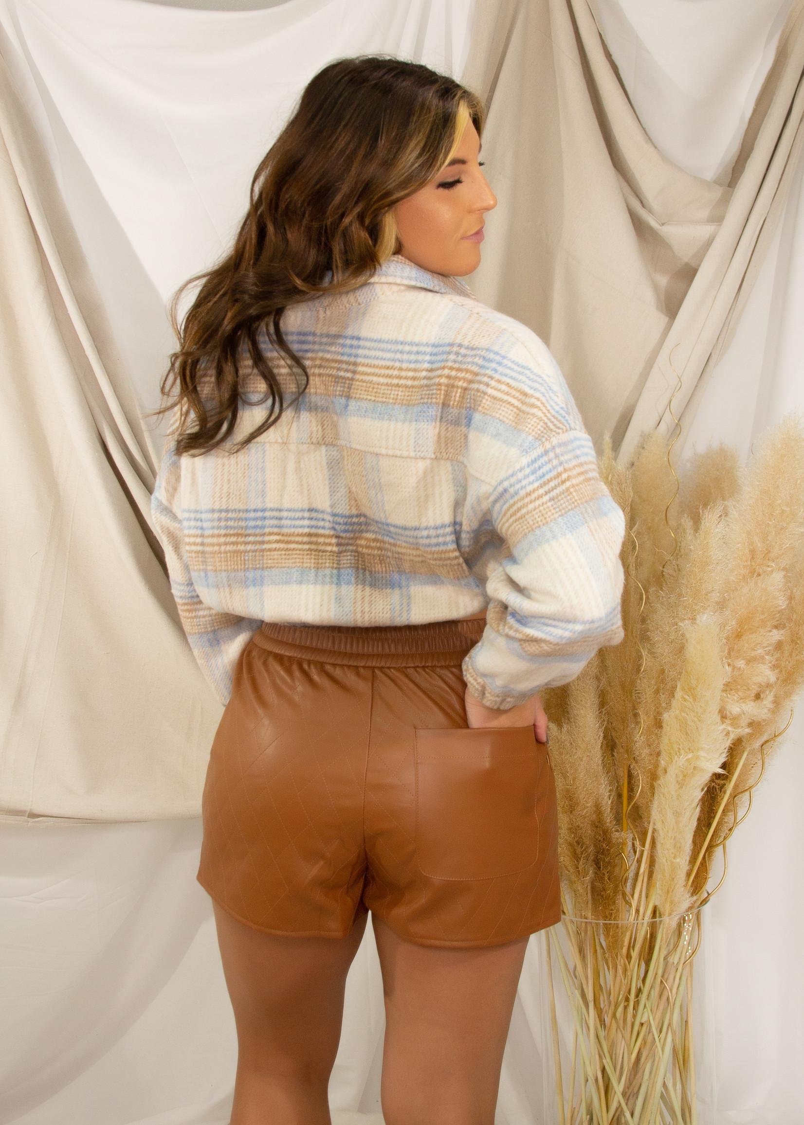 Long Sleeve Oversized Cropped Jacket w/ Front Pockets