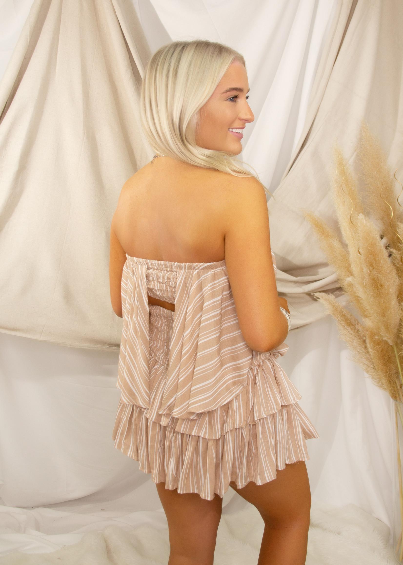 Stripe Open Back Detail Romper Dress