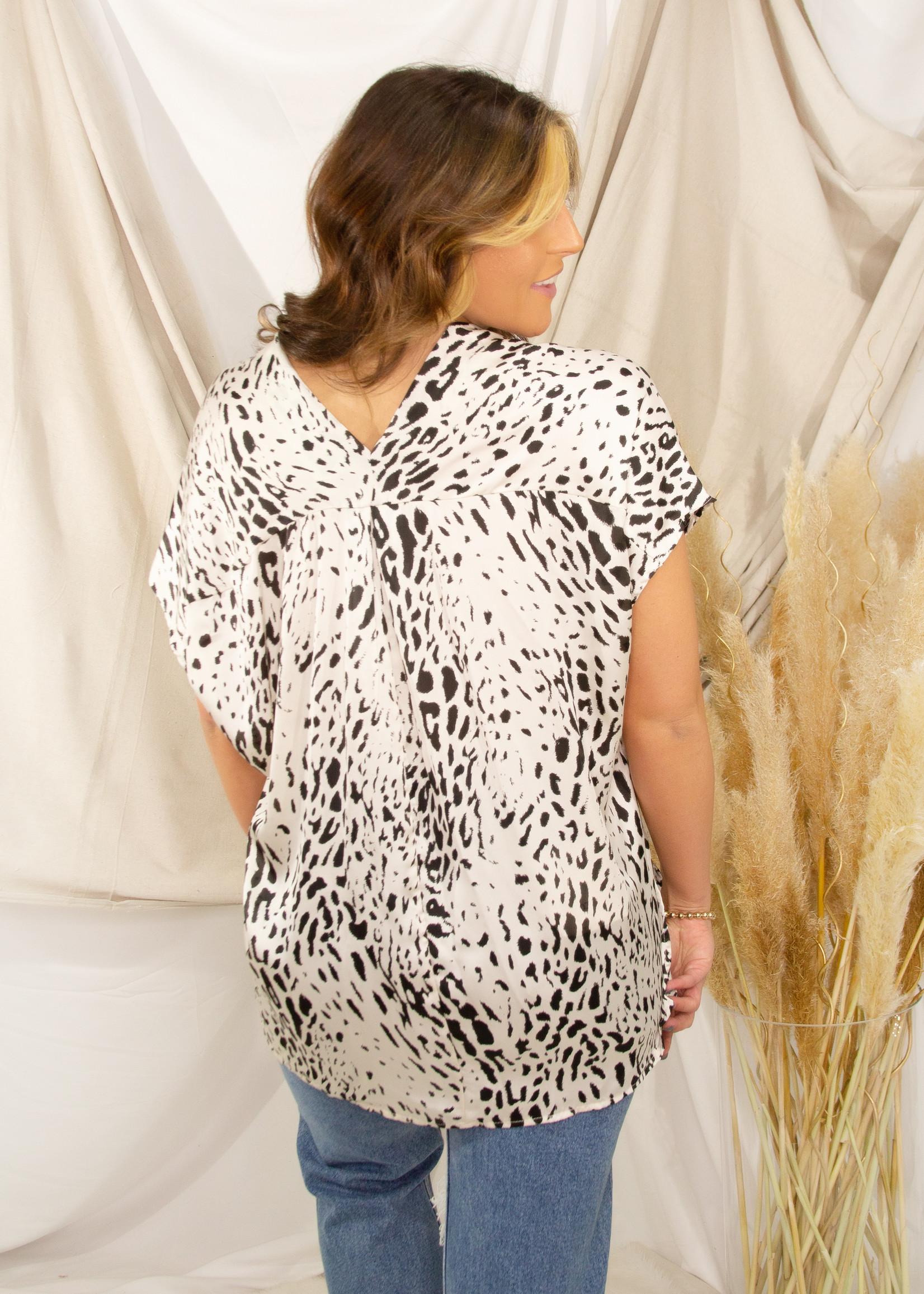 Satin Leopard Clean V - Neck Wide Top w/ Side Slits