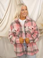 Long Sleeve Oversized Plaid Jacket w/ Pockets