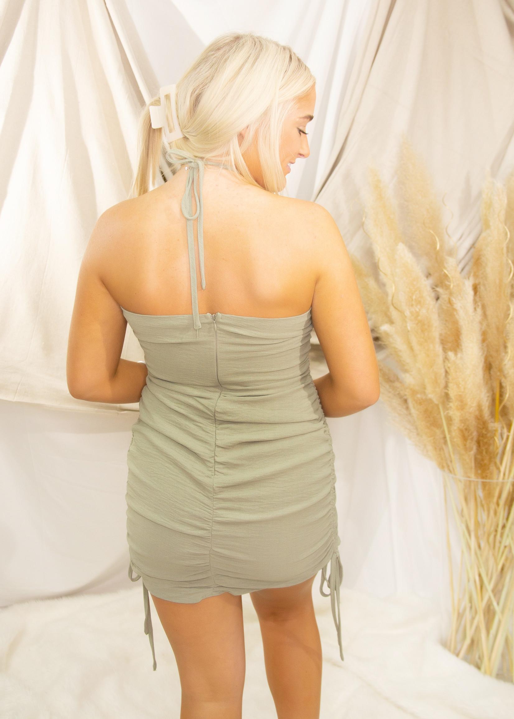 Halter Neck Side Shirring Dress