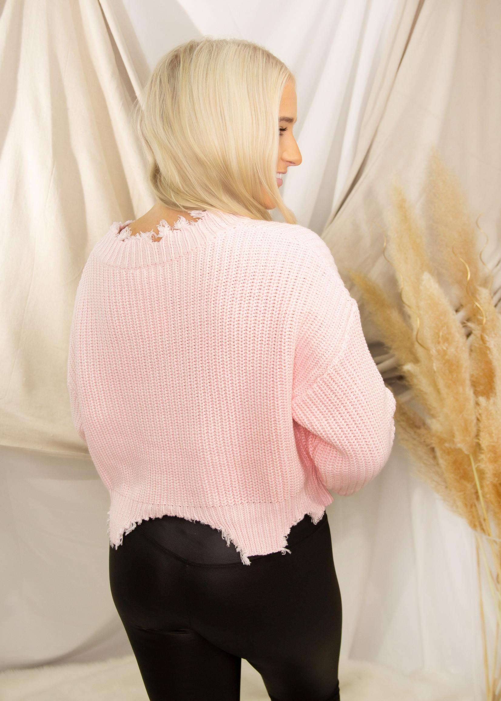 Round Neck Distress Detail Sweater