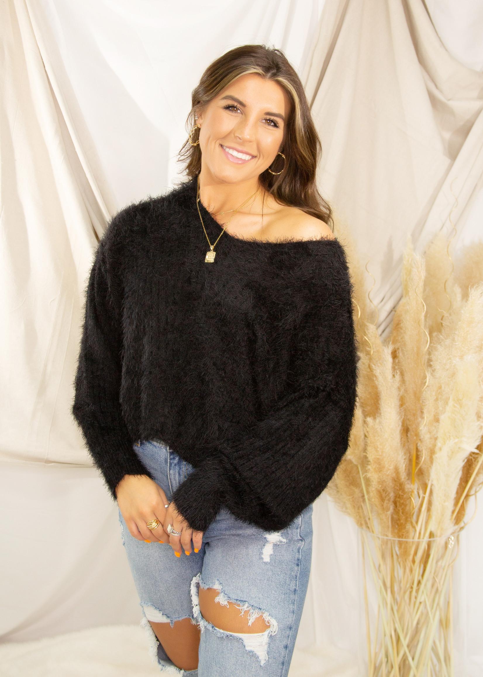 Cute Fuzzy V Neck Sweater