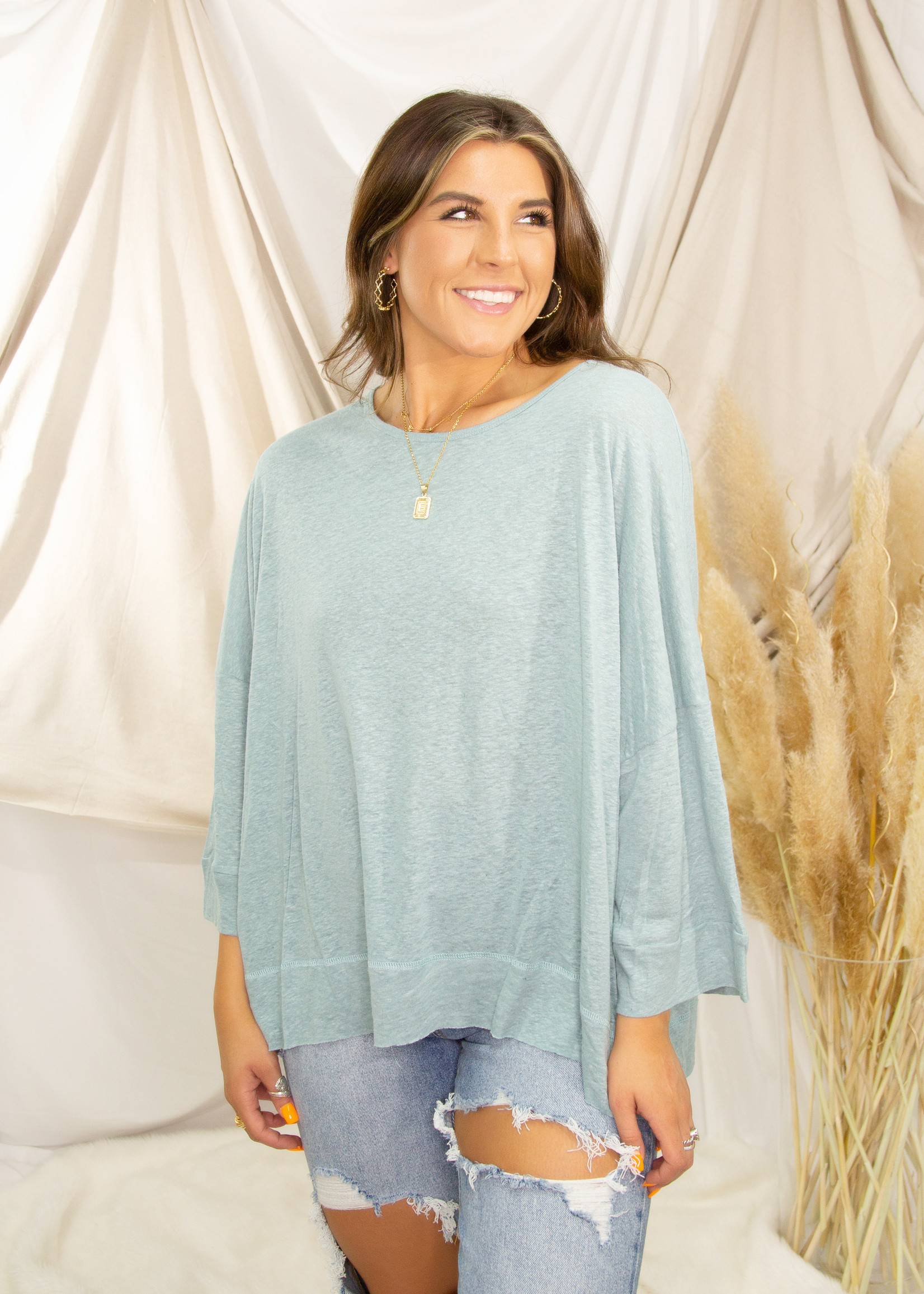 Wide Sleeve Cotton Slub Knitted Top