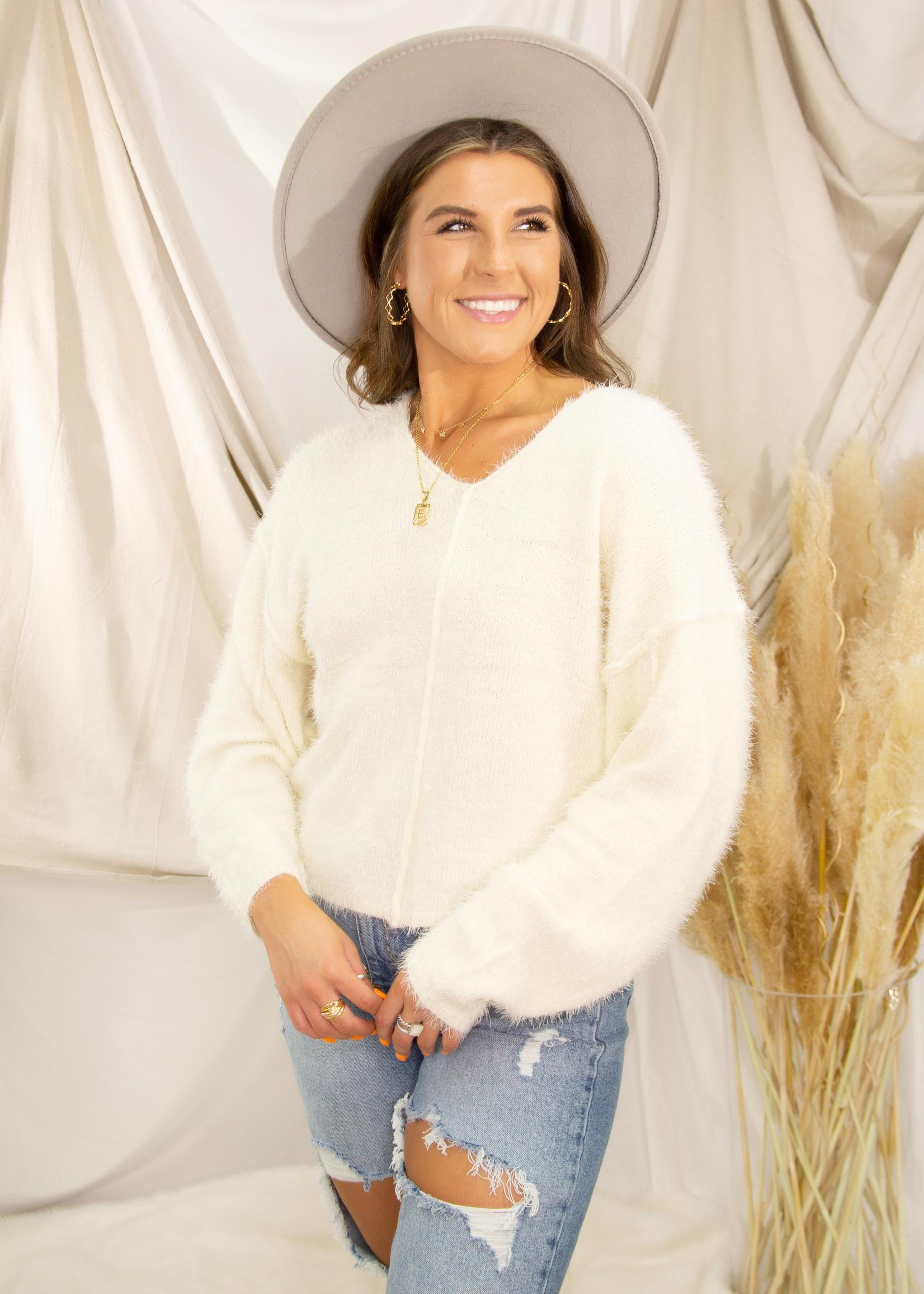 Boho Drop Shoulder Fuzzy Sweater