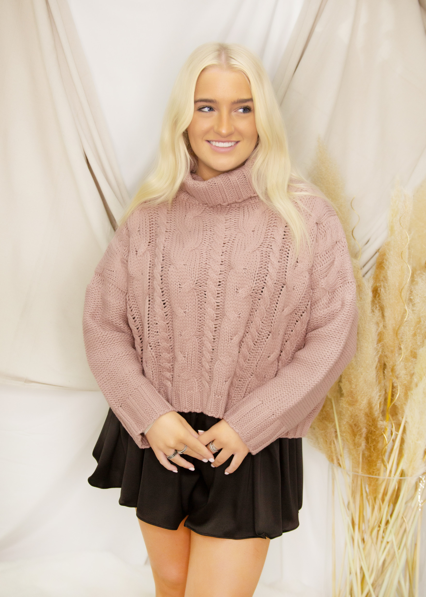 Chunky Cable Knit Turtle Neck Crop Sweater
