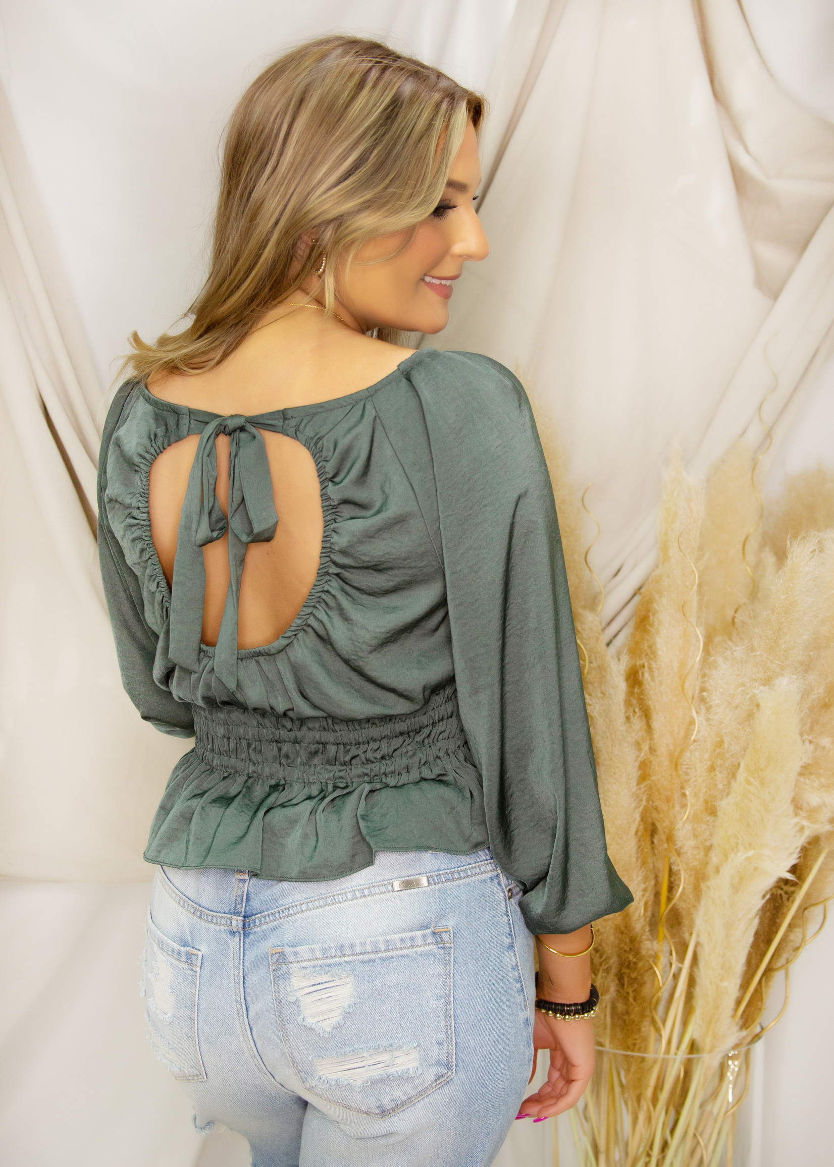 3/4 sleeve Woven Satin Peplum Top w/ Open Back & Tie Detail