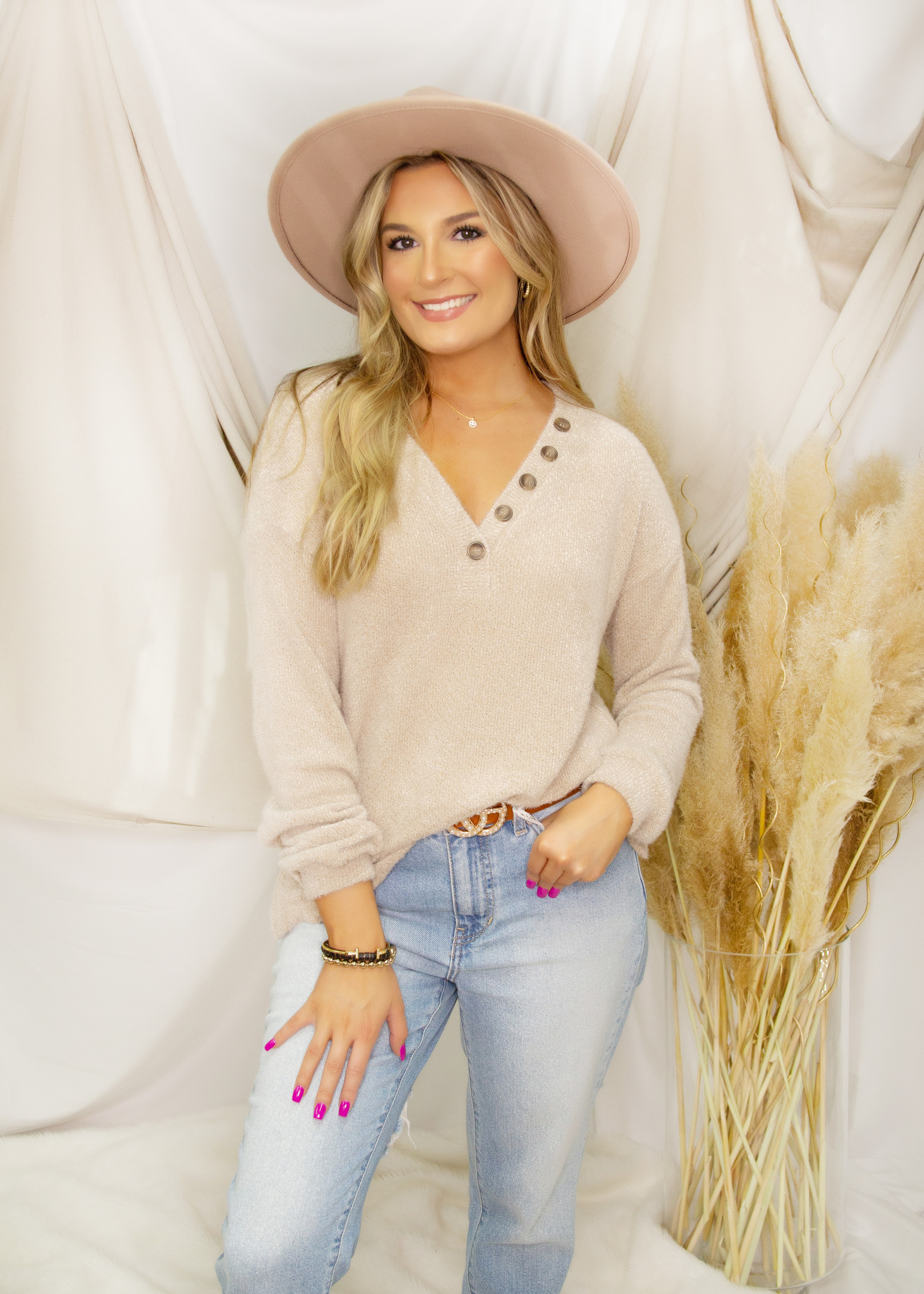 Long Sleeve Knitted Button Up Sweater