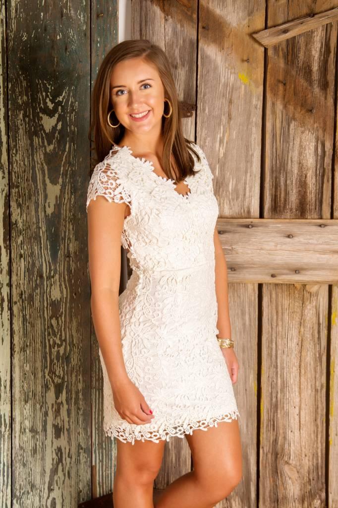 Short Sleeve Lace dress w/ back detail