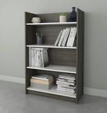 Nexera Chrono 4-Shelf Bookcase, Bark Grey & White