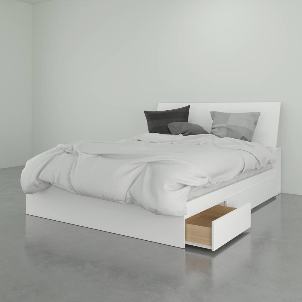 Ensemble lit queen (60'') plateforme avec tête de lit, Blanc, Radiance - M2GO