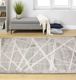 Kalora Alaska Grey White Crossed Lines Textured Rug 5'2'' x 7'7''